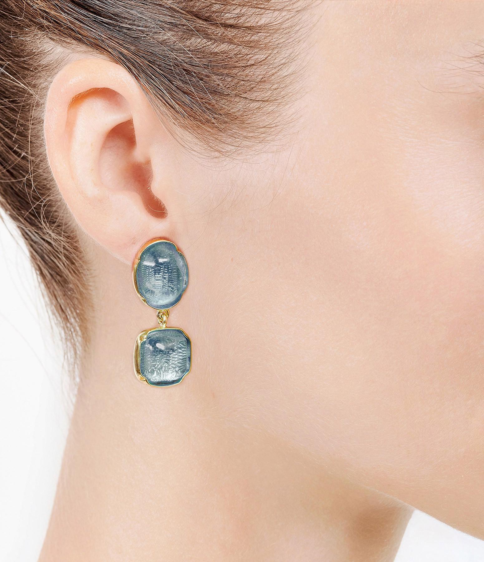 GOOSSENS - Boucles d'oreilles Cabochons Bleu Denim