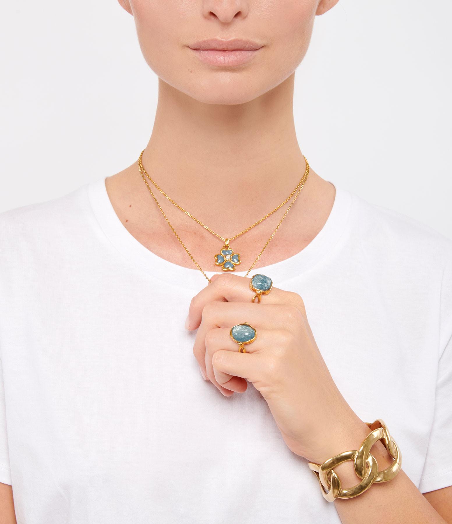 GOOSSENS - Bague Cabochon Ovale Cristal de Roche Bleu Denim Plaqué Or