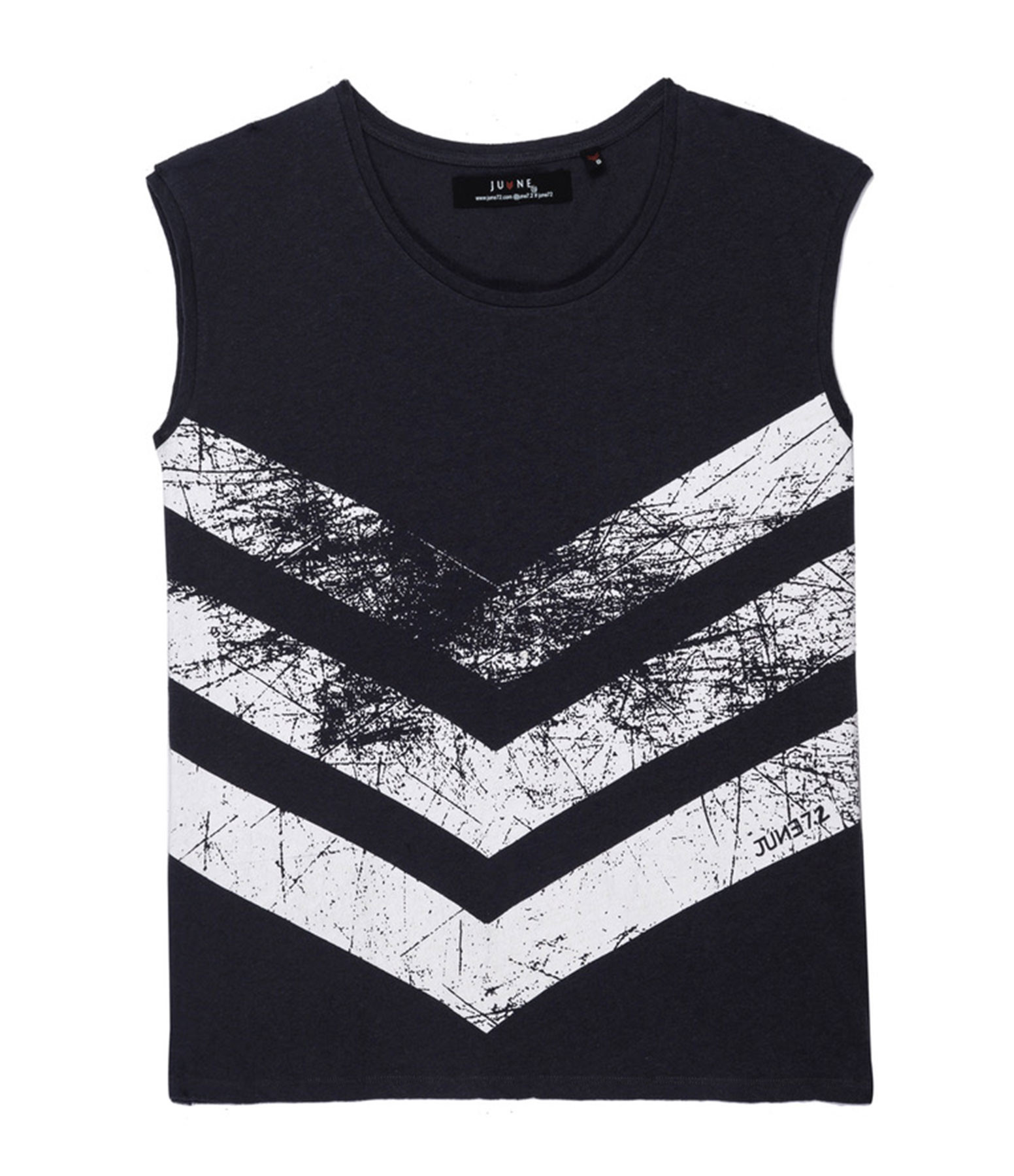 JUNE 7.2 - Tee-shirt Ruby Coton Lin Charbon Logo Blanc