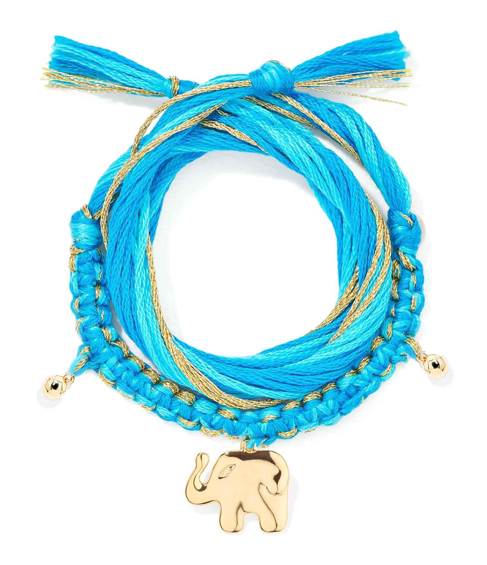 AURELIE BIDERMANN - Bracelet Honolulu Charm Éléphant Bleu Plaqué Or