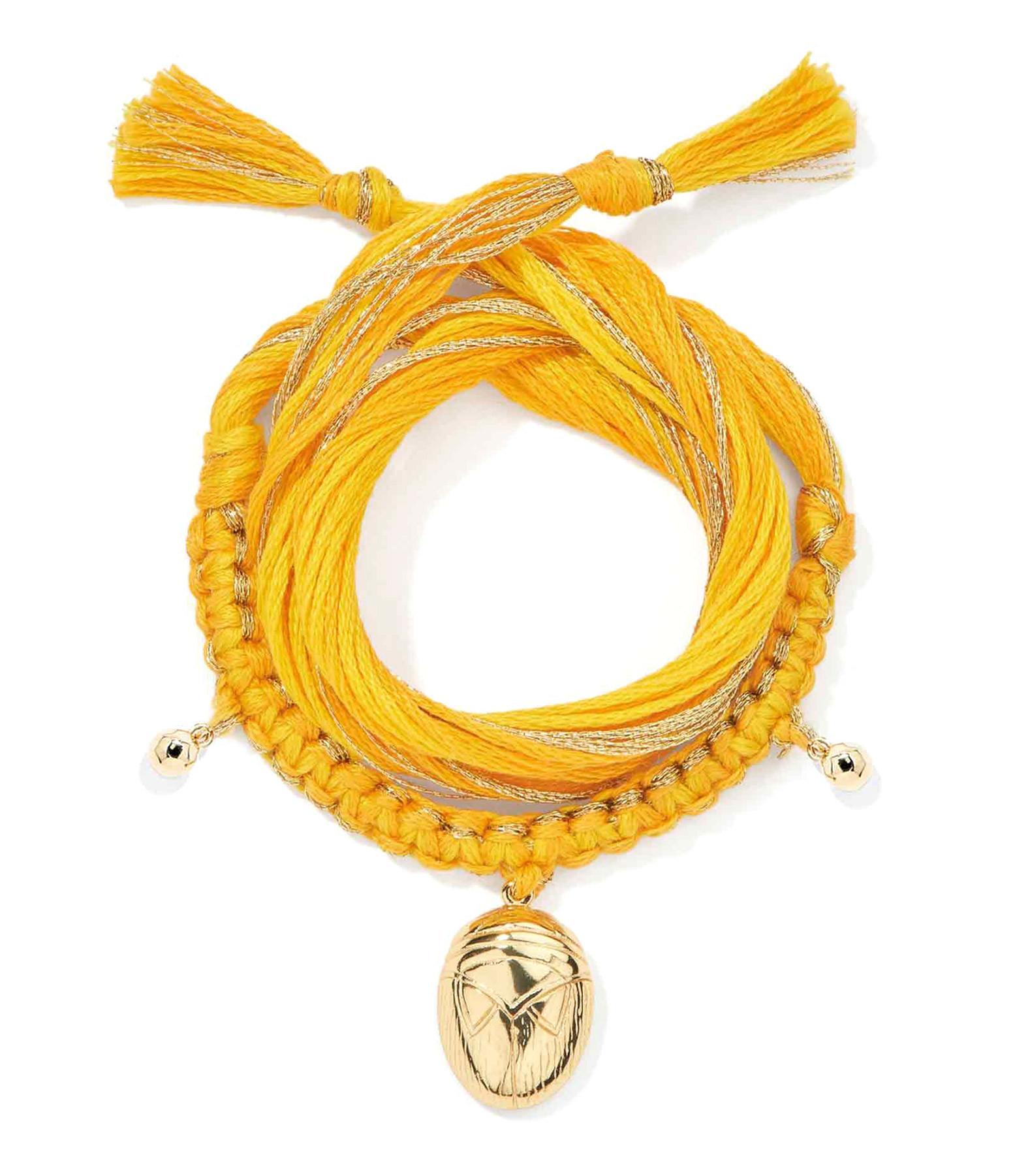 AURELIE BIDERMANN - Bracelet Honolulu Charm Scarabée Jaune Plaqué Or