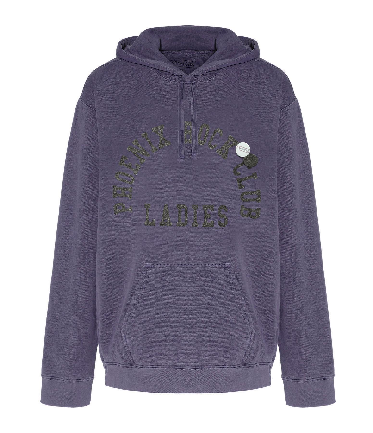 NEWTONE - Sweatshirt Hoody Phoenix Coton Violet Grappe