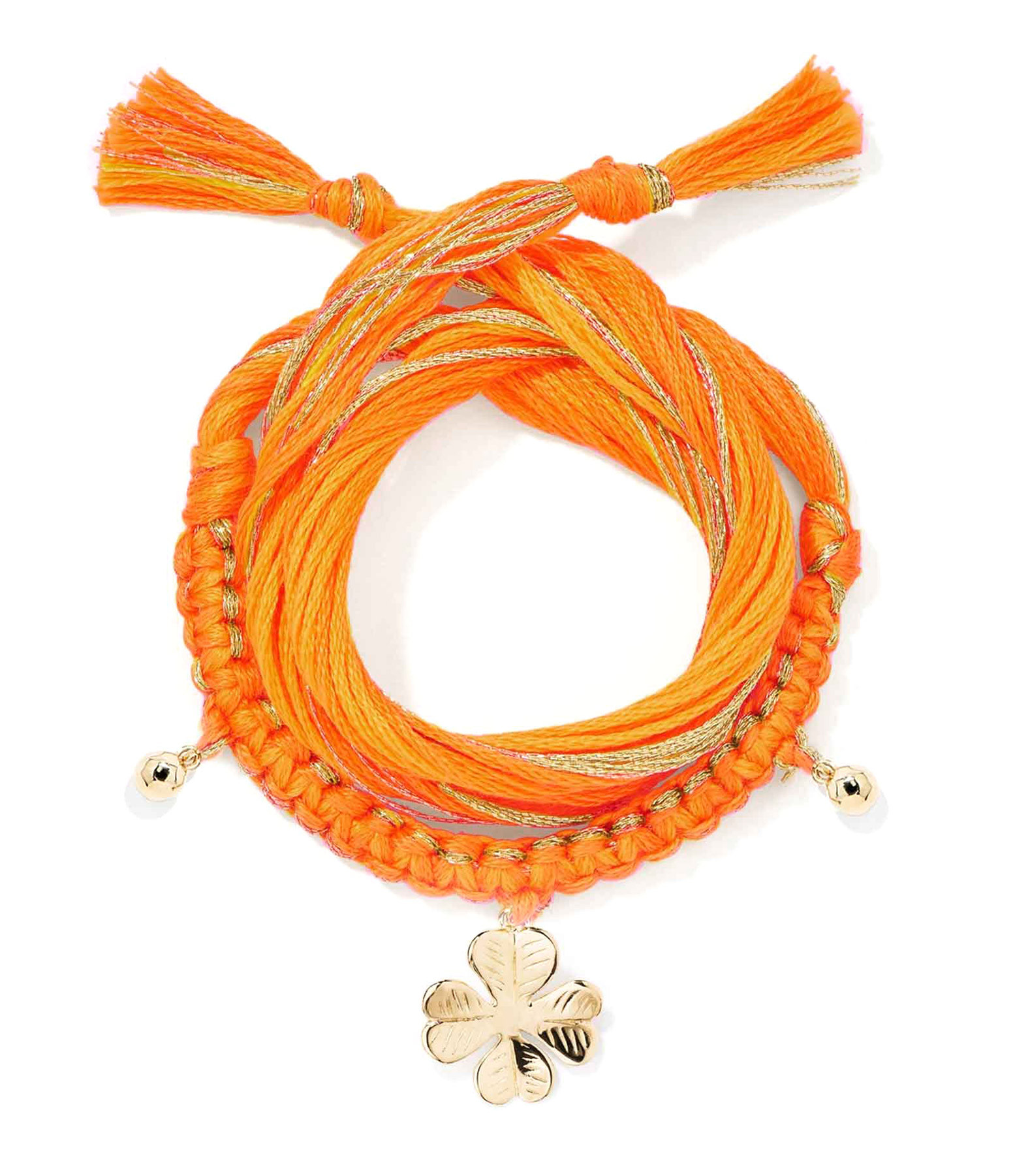 AURELIE BIDERMANN - Bracelet Honolulu Charm Trèfle Orange Plaqué Or