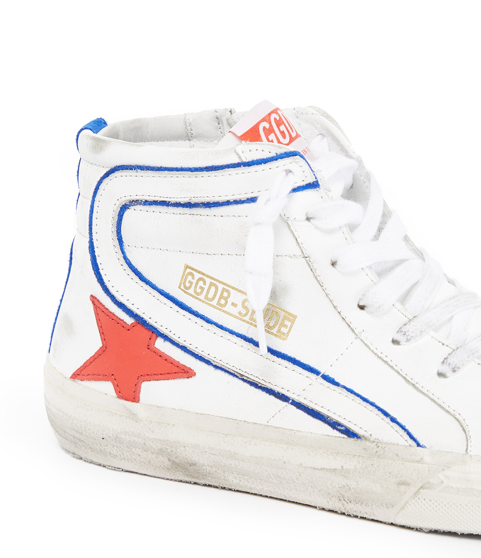 GOLDEN GOOSE - Baskets Homme Slide Cuir Blanc Rouge Cerise