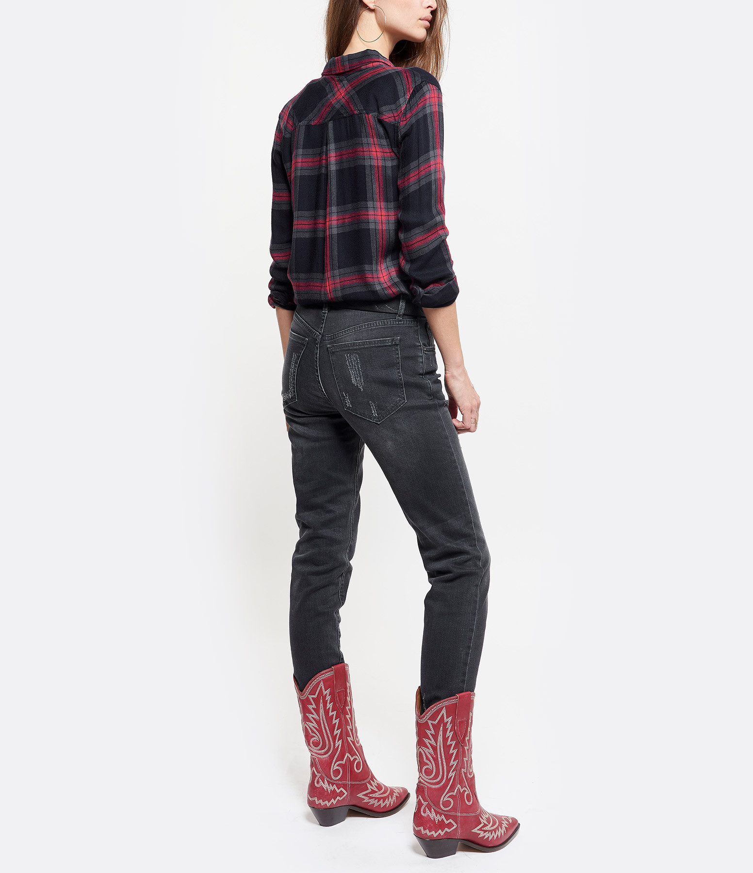 ISABEL MARANT - Bottines Duerto Cuir Rouge