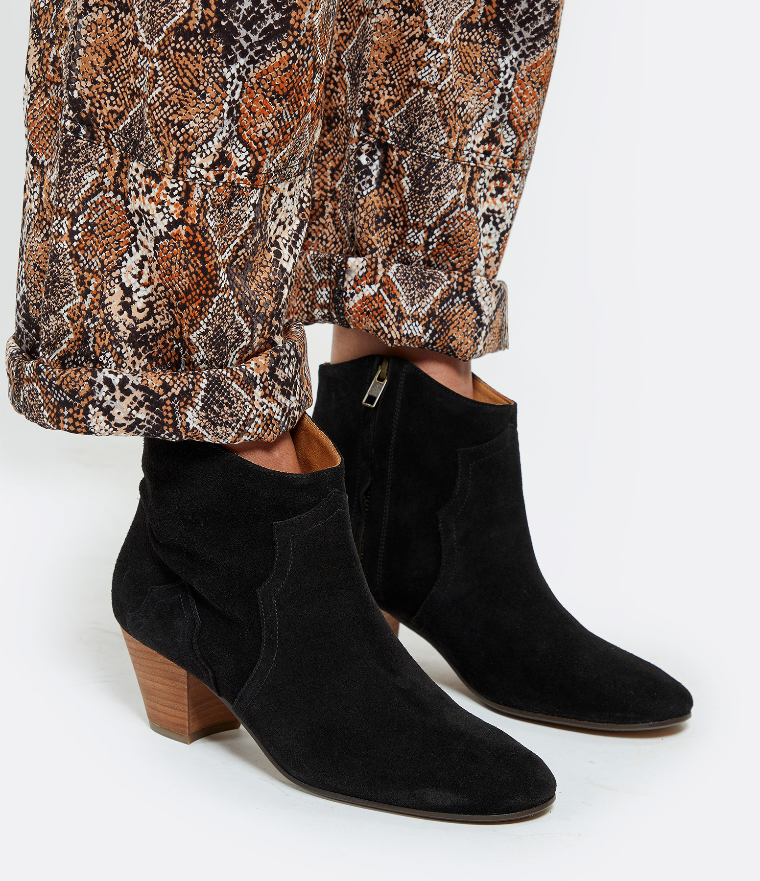 ISABEL MARANT - Bottines Dicker Veau Velours Noir