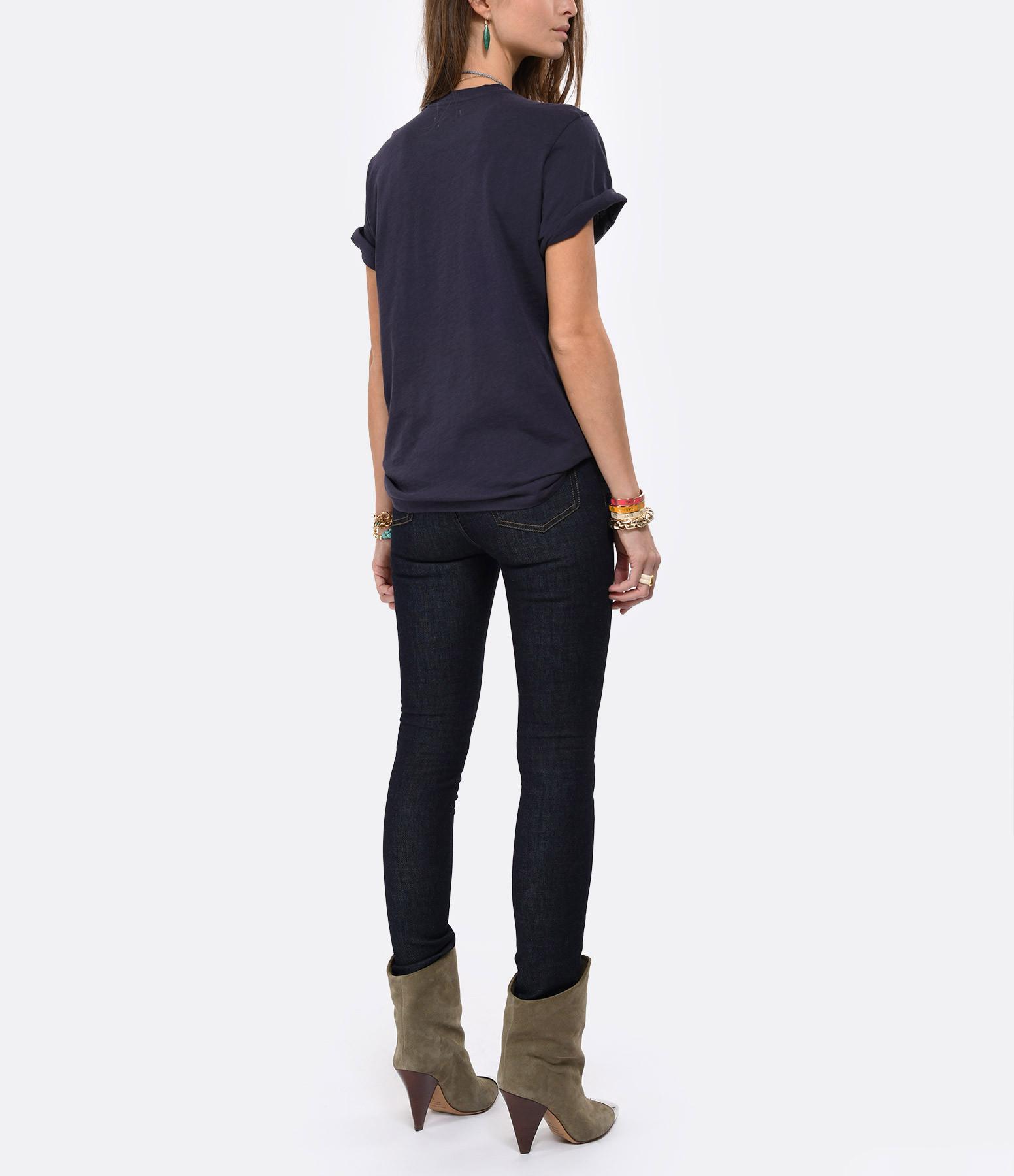 ISABEL MARANT ÉTOILE - Tee-shirt Zewel Coton Imprimé Bleu Nuit