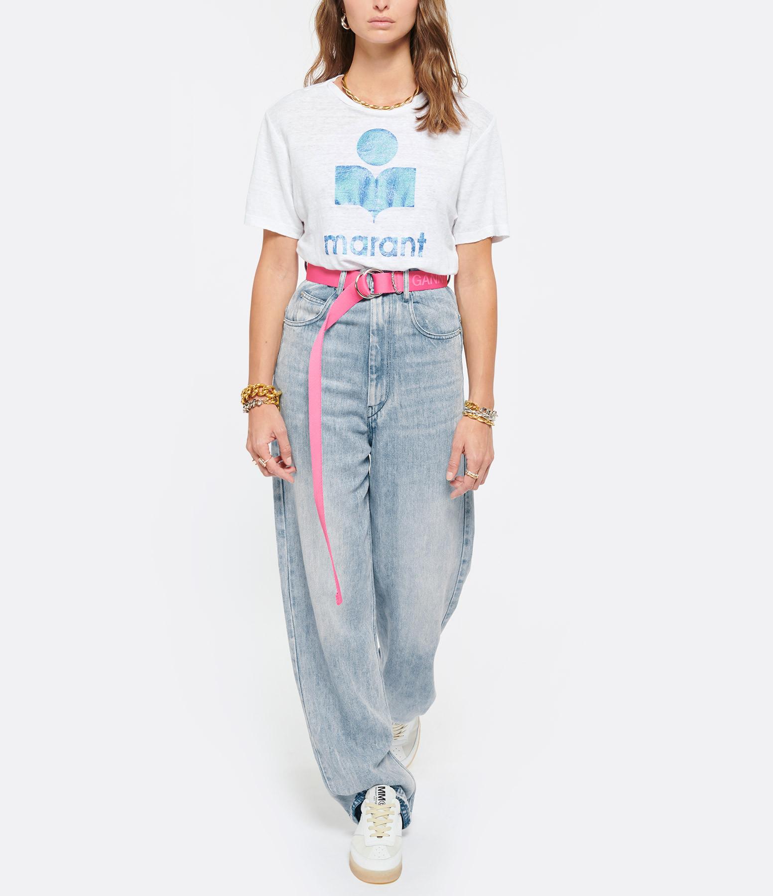 ISABEL MARANT ÉTOILE - Tee-shirt Zewel Lin Blanc Bleu