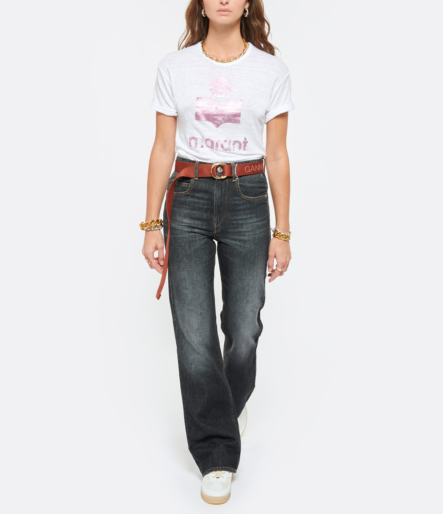 ISABEL MARANT ÉTOILE - Tee-shirt Koldi Lin Blanc Rose