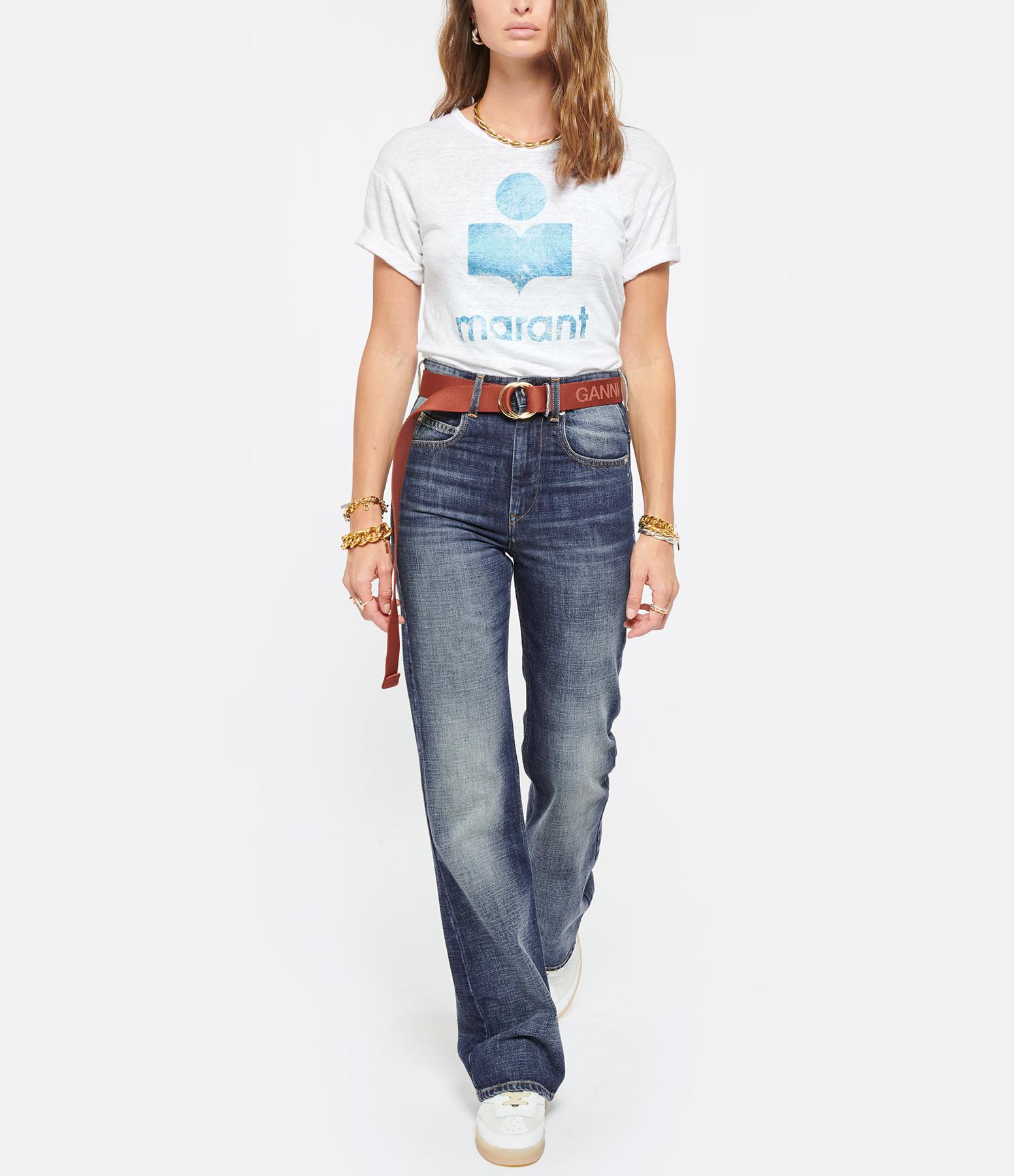 ISABEL MARANT ÉTOILE - Tee-shirt Koldi Lin Blanc Bleu