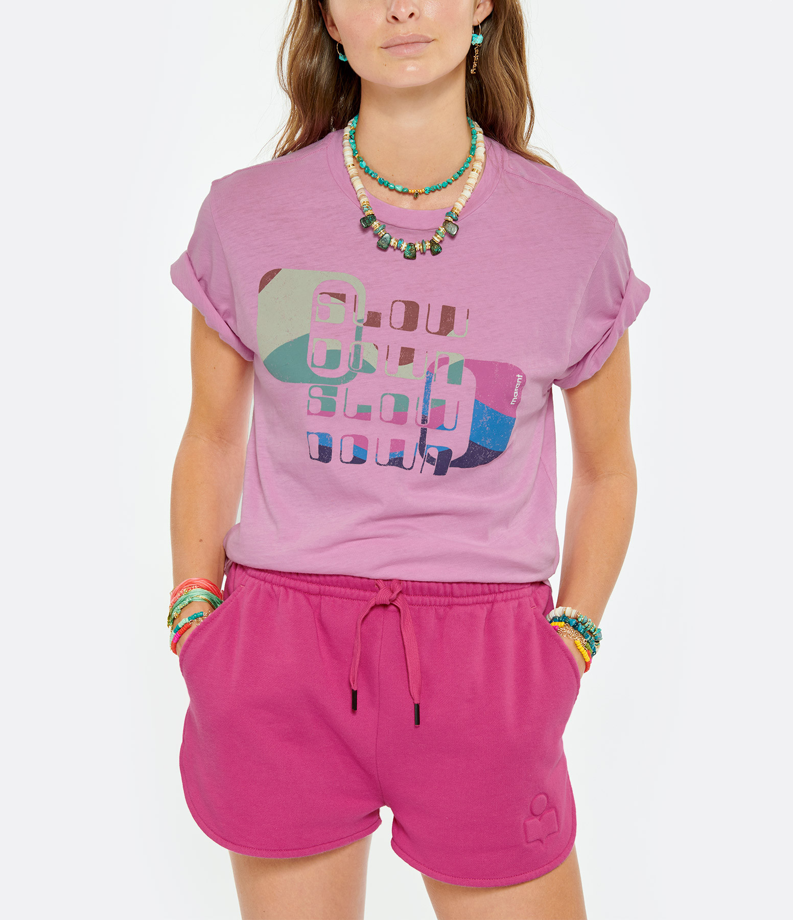 ISABEL MARANT ÉTOILE - Tee-shirt Zewel Coton Rose Néon