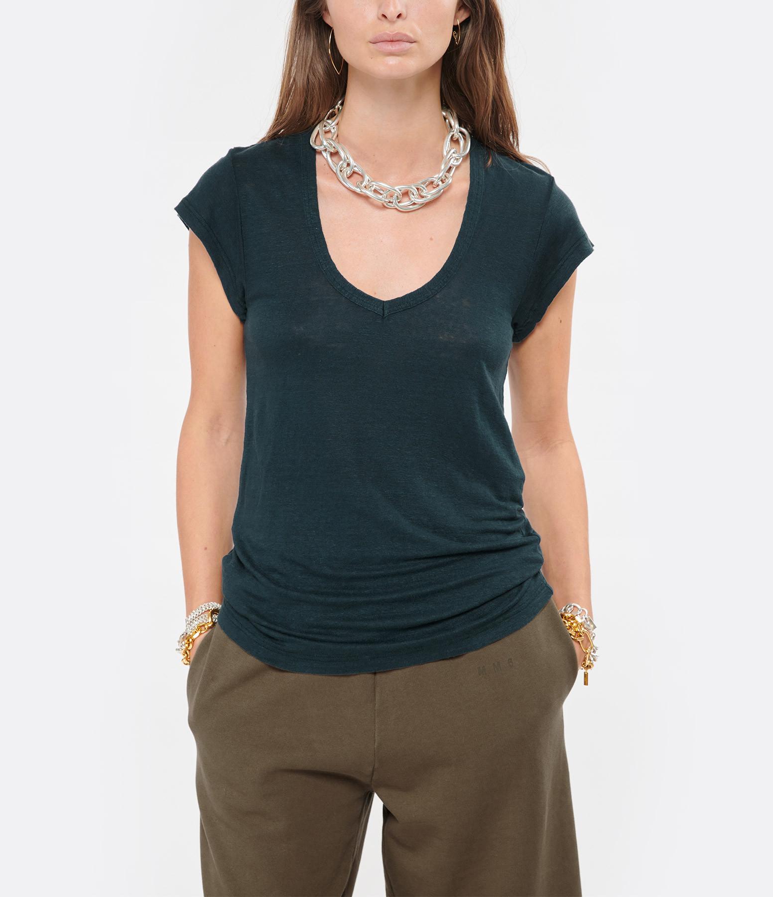 ISABEL MARANT ÉTOILE - Tee-shirt Zankou Lin Vert Foncé