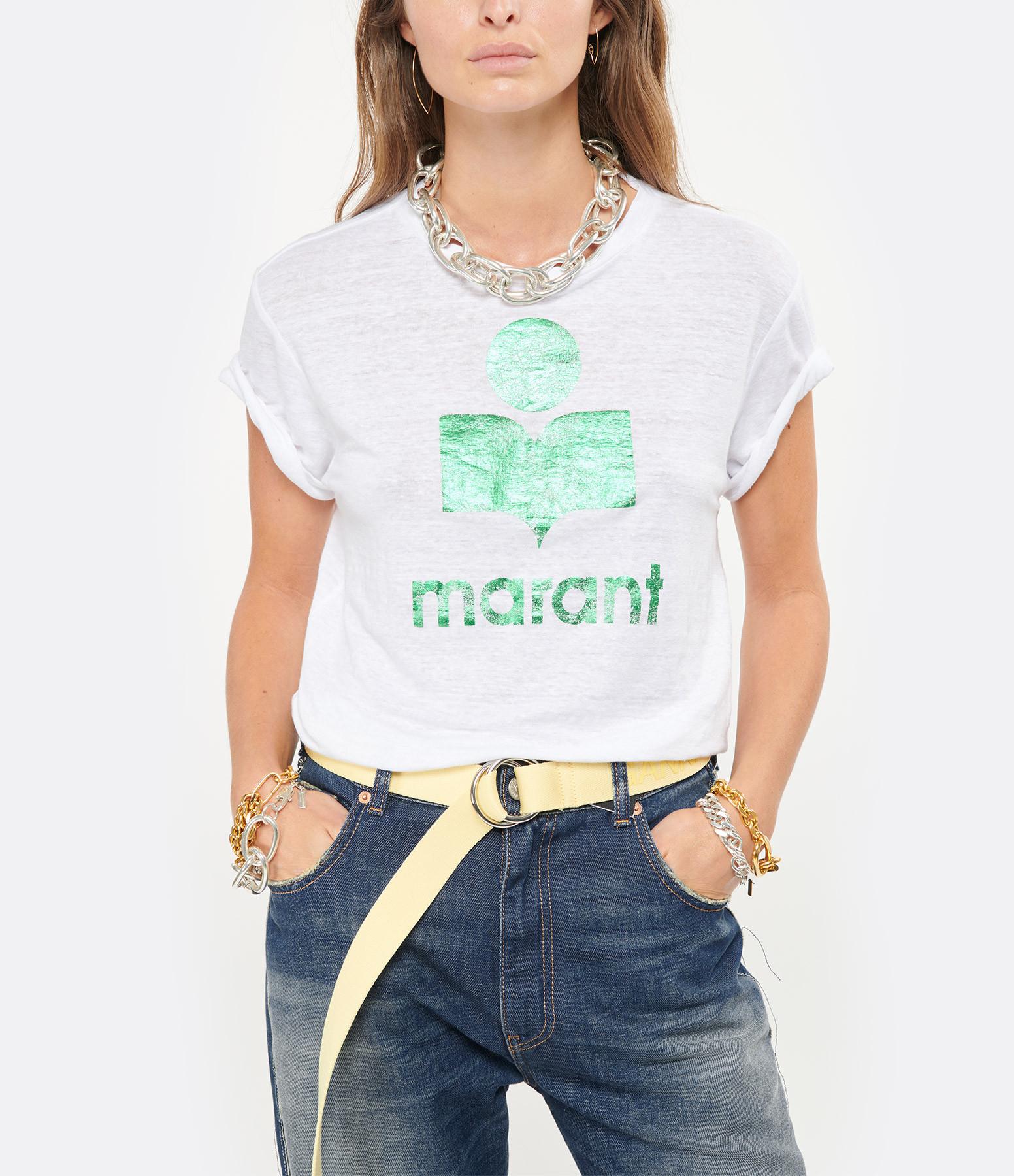 ISABEL MARANT ÉTOILE - Tee-shirt Zewel Lin Blanc Vert