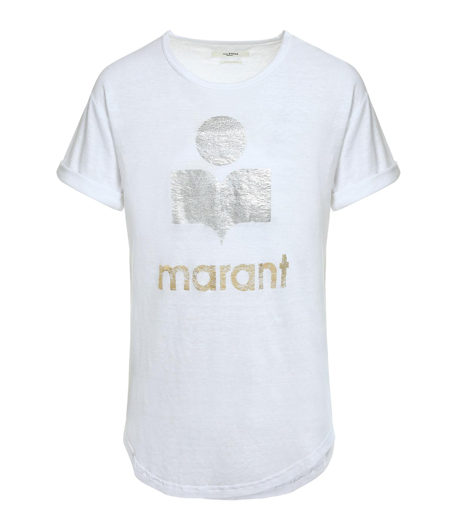 ISABEL MARANT ÉTOILE - Tee-shirt Koldi Lin Blanc Argenté