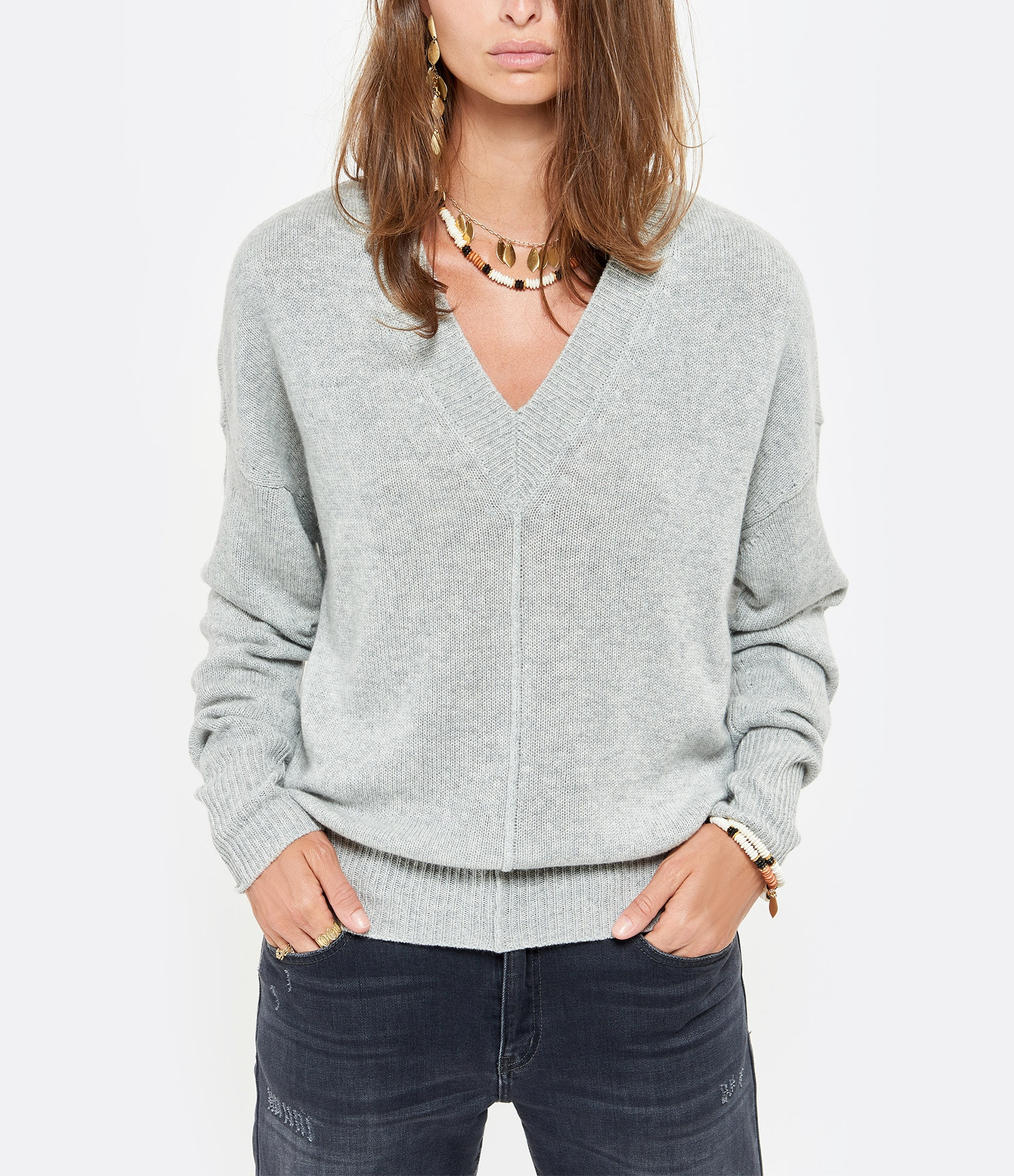 ISABEL MARANT - Pull Amy Soie Gris
