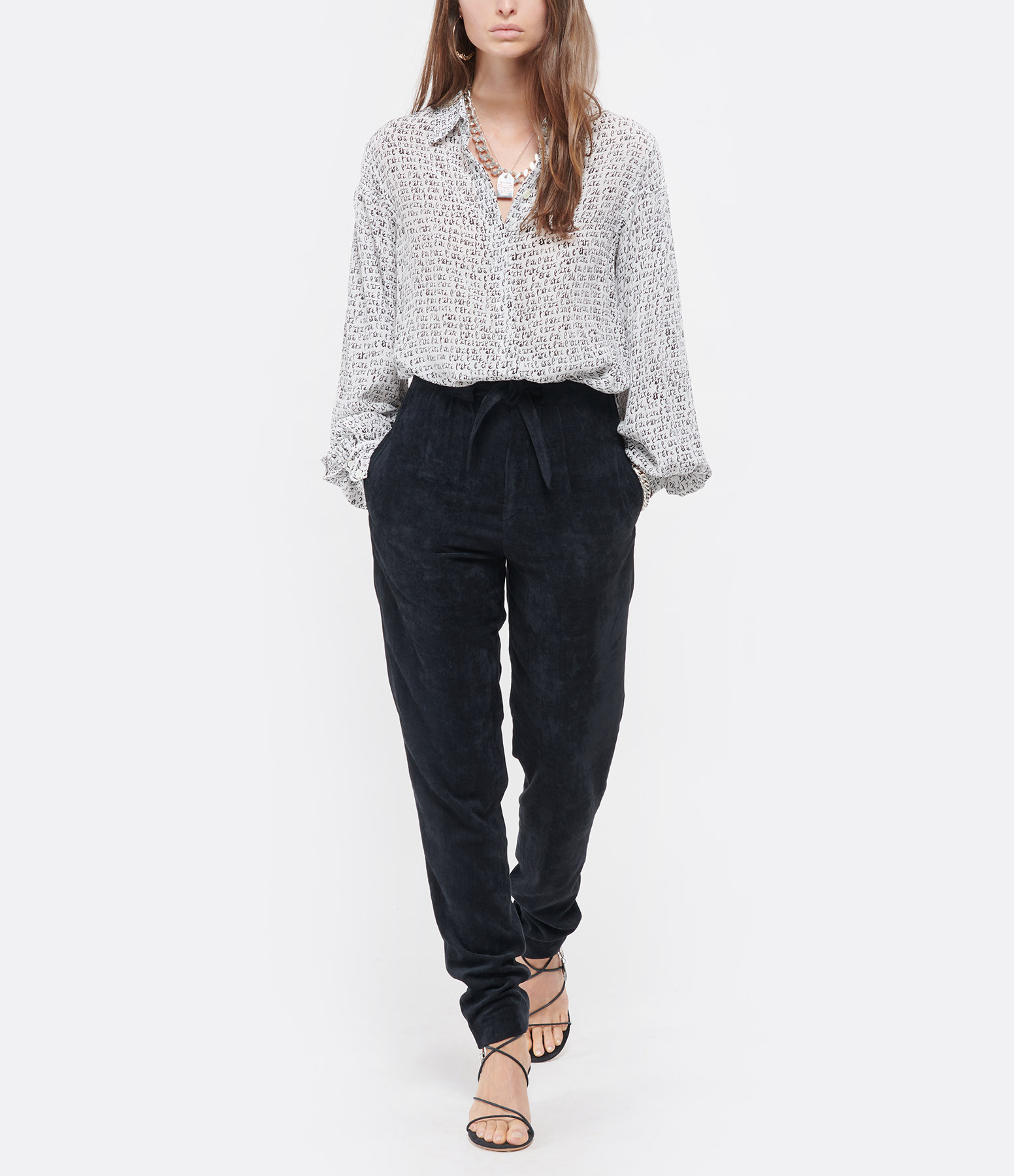 ISABEL MARANT - Pantalon Vilardo Noir Délavé