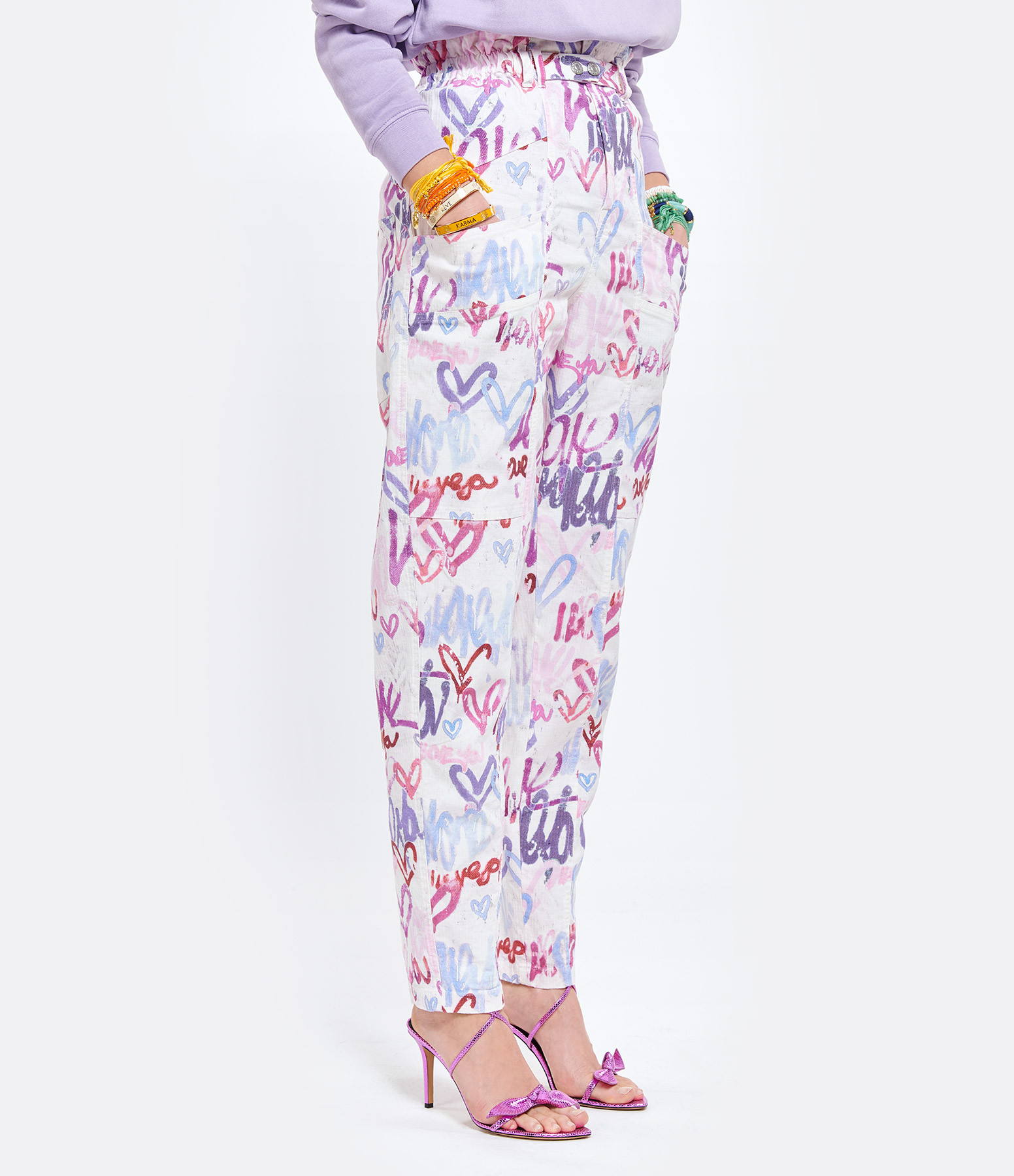 ISABEL MARANT - Pantalon Enucie Lin Coton Multicolore