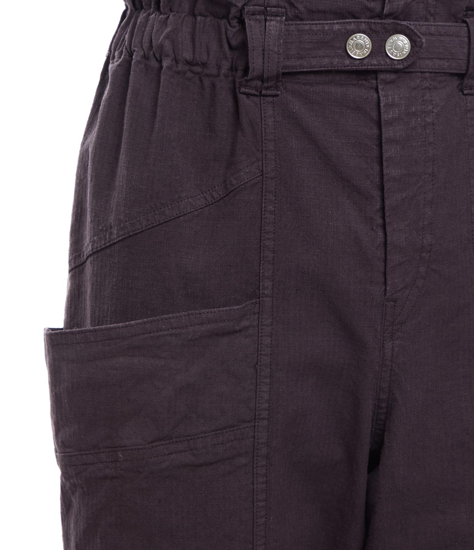 ISABEL MARANT - Pantalon Enucie Lin Coton Bleu Nuit