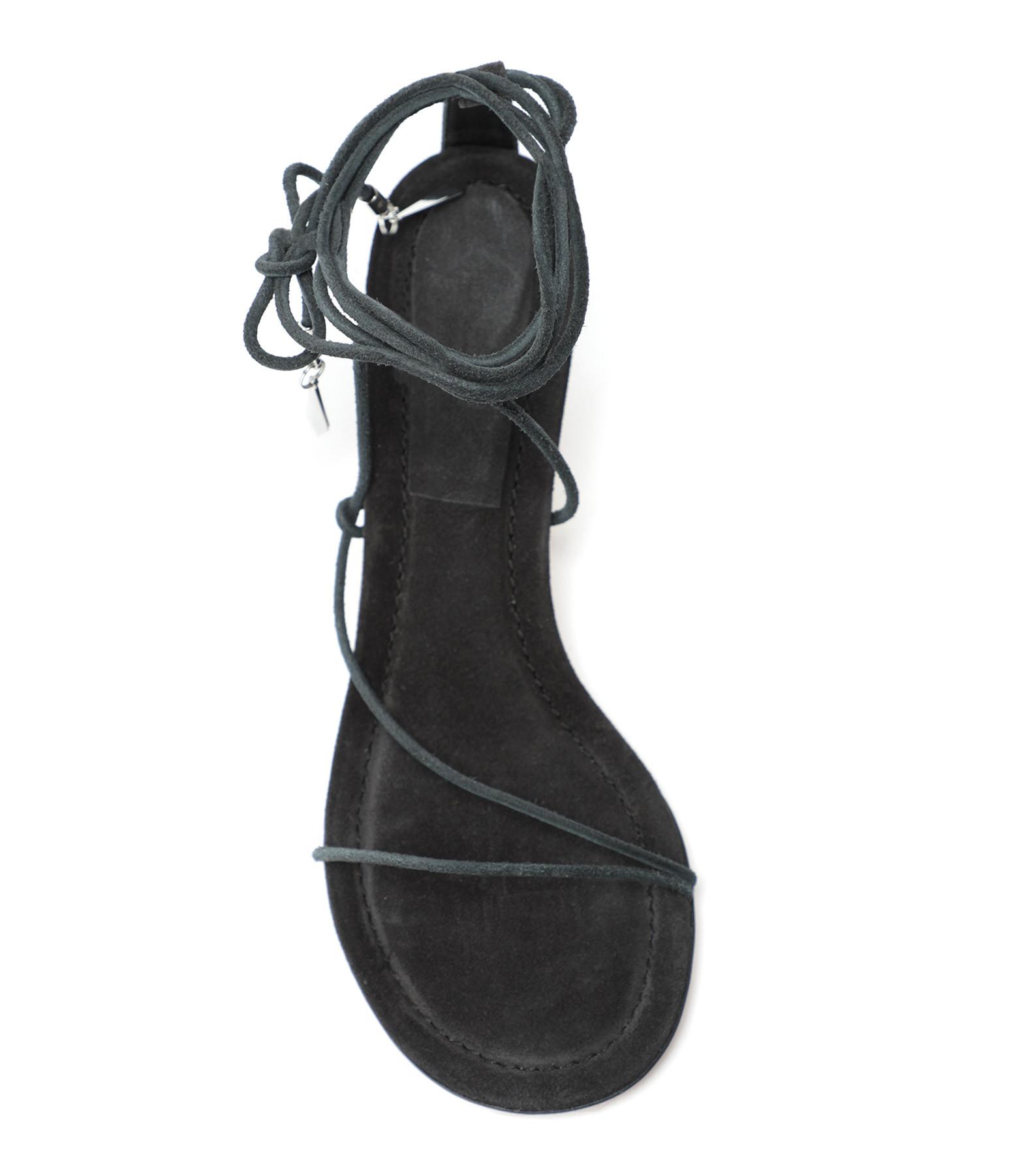 ISABEL MARANT - Sandales Amifa Cuir Noir Délavé