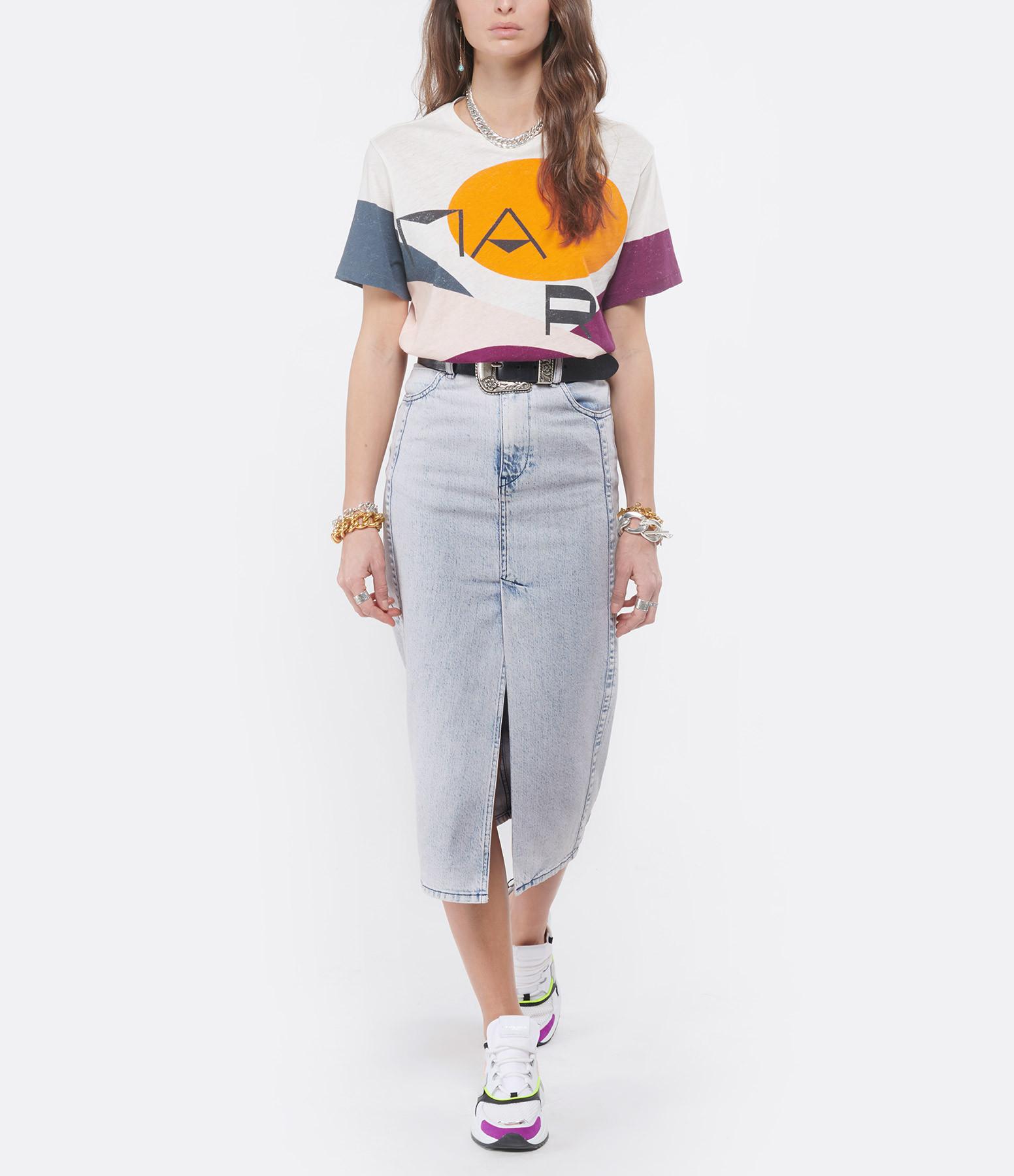 ISABEL MARANT - Tee-shirt Zewel Coton Imprimé Pétrole