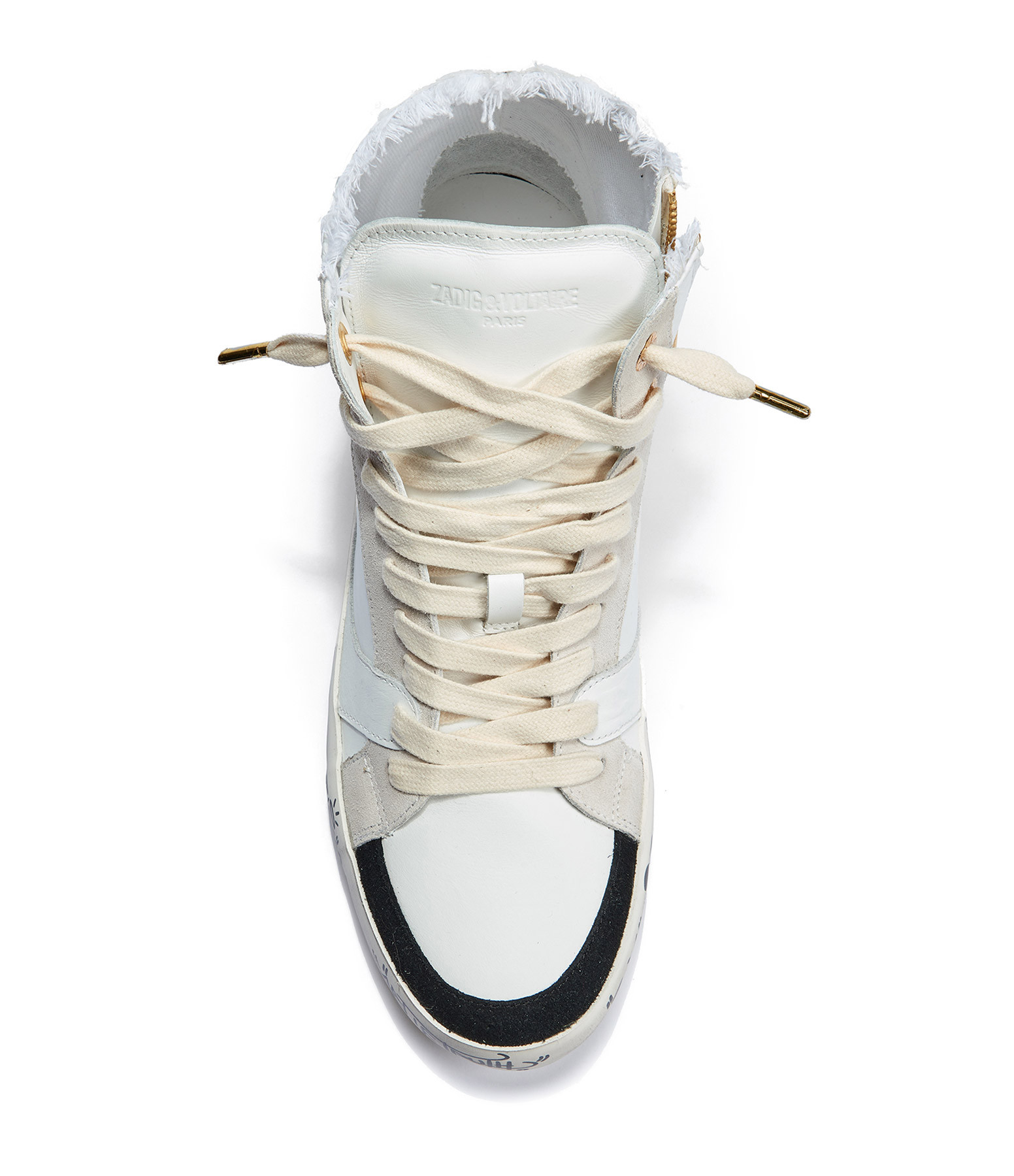 ZADIG & VOLTAIRE - Baskets Zadig Used High Cuir Blanc