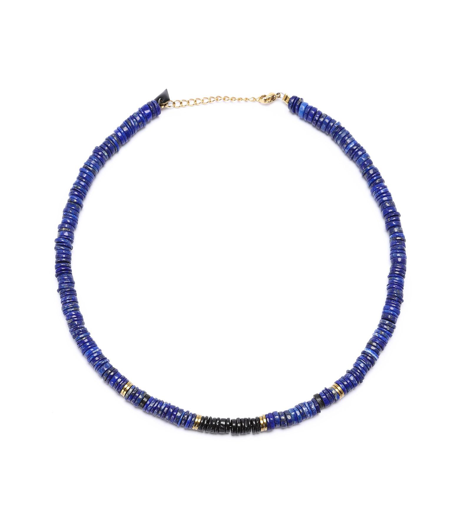 MON PRECIEUX GEM - Collier Puka Onyx Lapis-Lazuli
