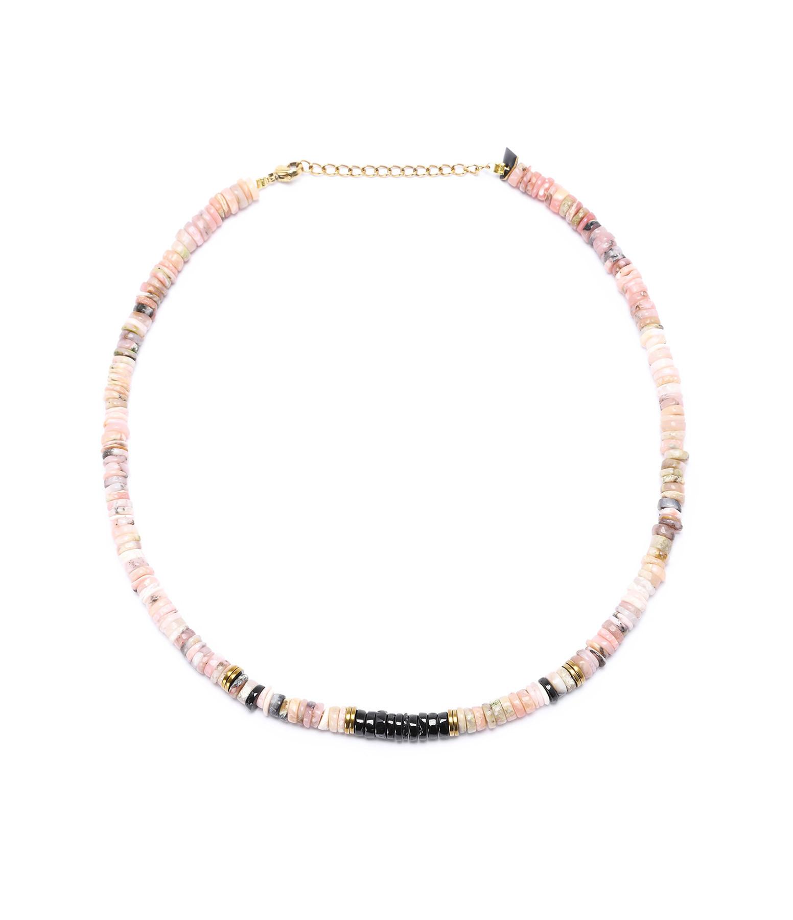 MON PRECIEUX GEM - Collier Puka Onyx Opale Rose