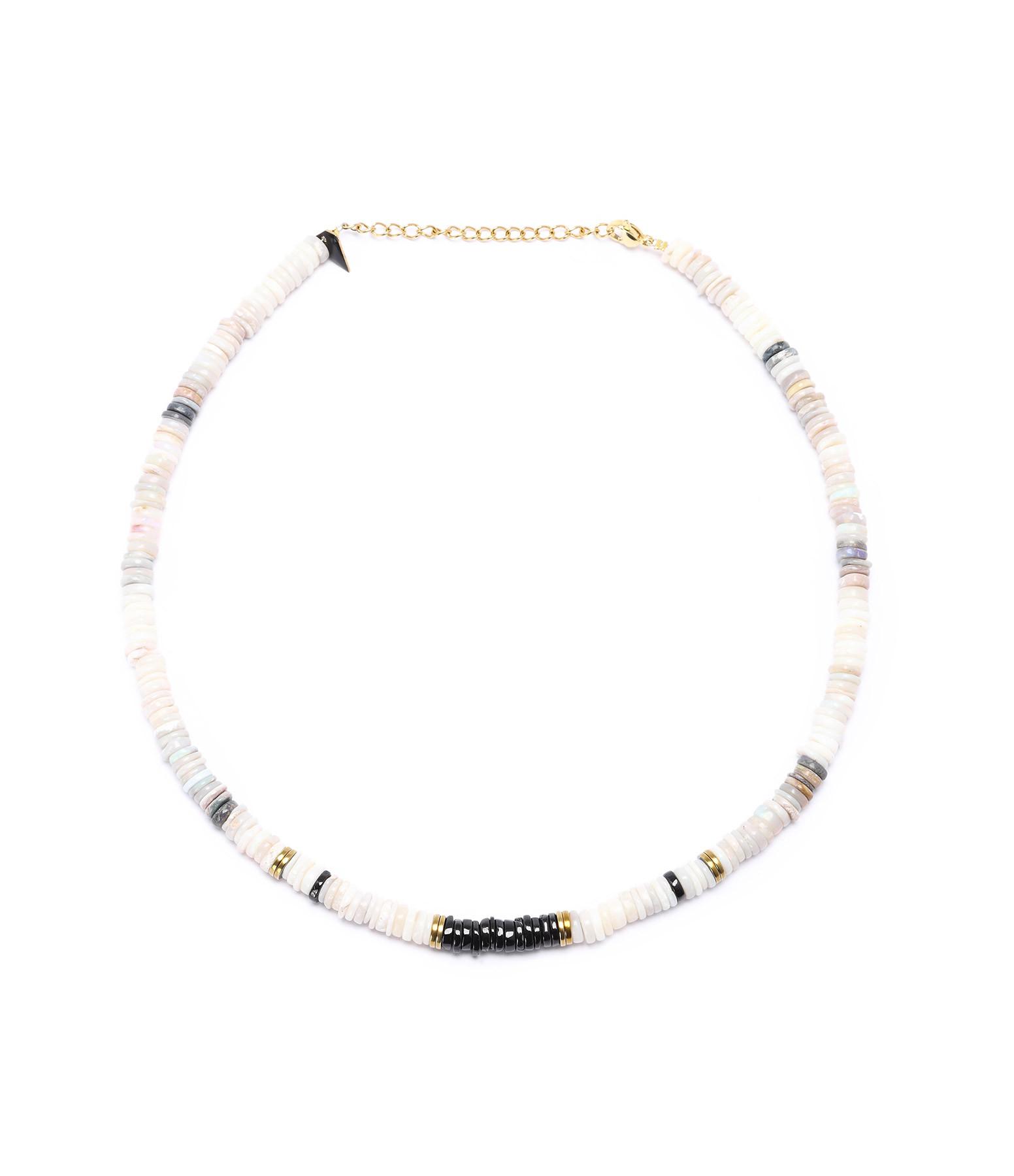 MON PRECIEUX GEM - Collier Puka Onyx Opale Blanche