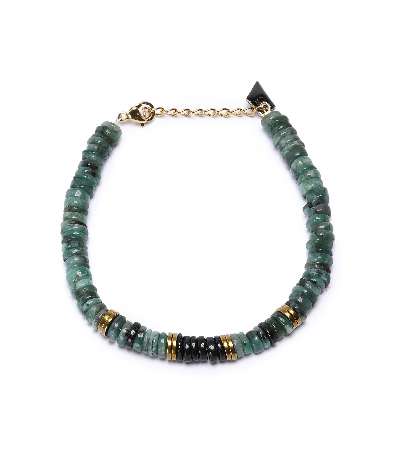 MON PRECIEUX GEM - Bracelet Puka Onyx Émeraude