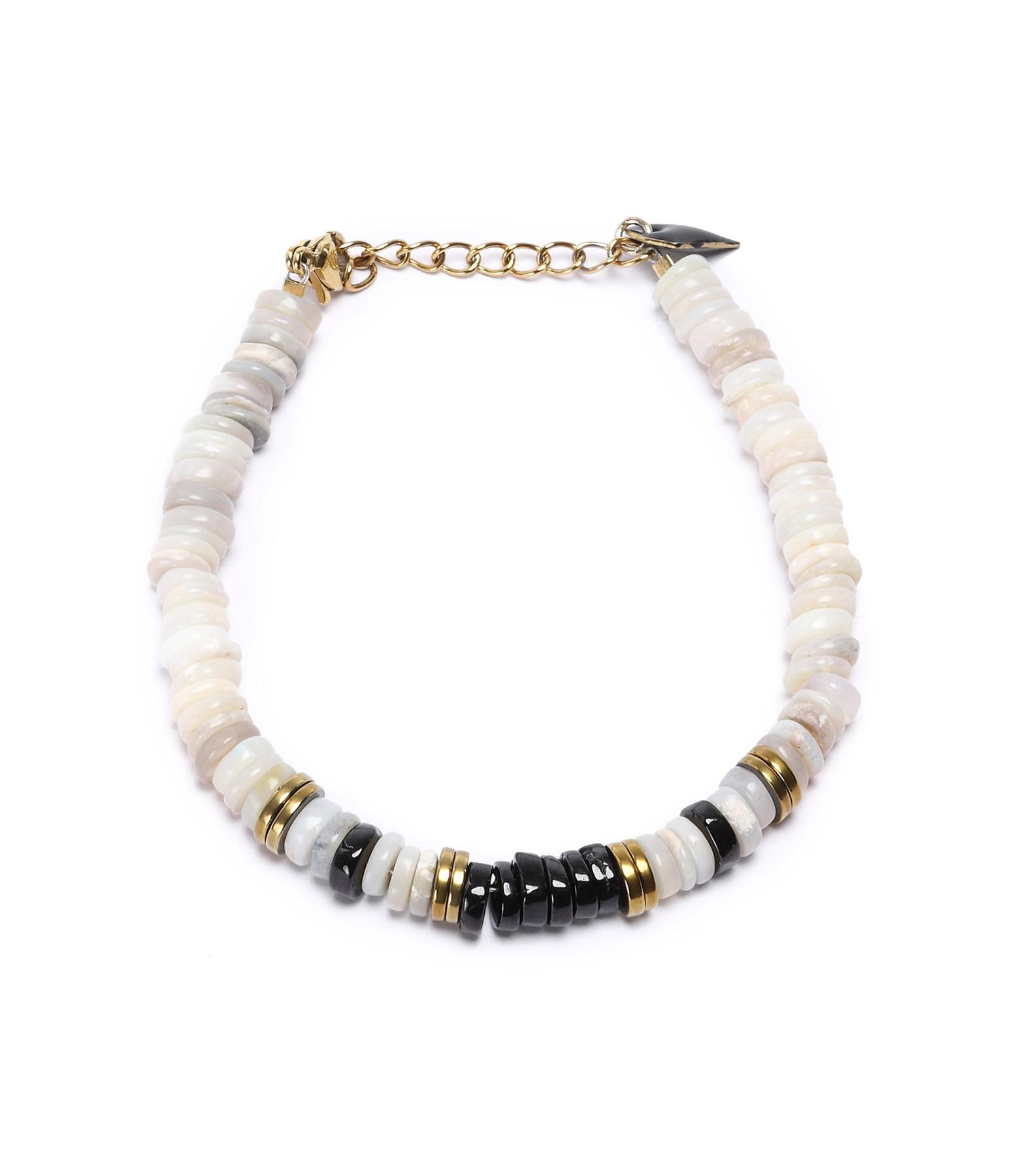 MON PRECIEUX GEM - Bracelet Puka Onyx Opale Blanche