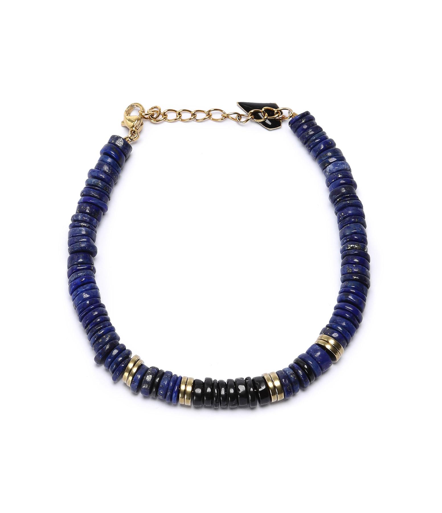 MON PRECIEUX GEM - Bracelet Puka Onyx Lapis-Lazuli