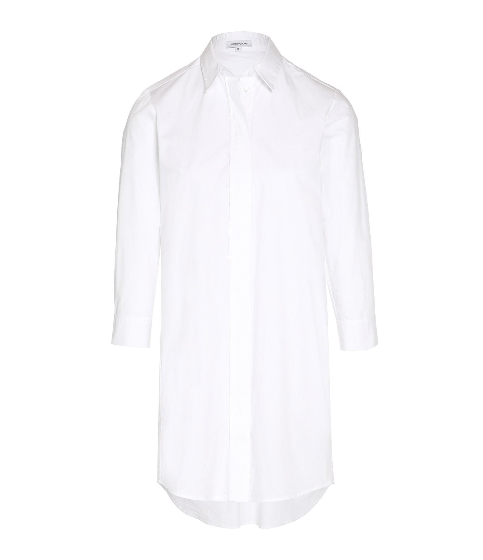 JEANNE VOULAND - Robe Chemise Baidy Brodé Coton Blanc