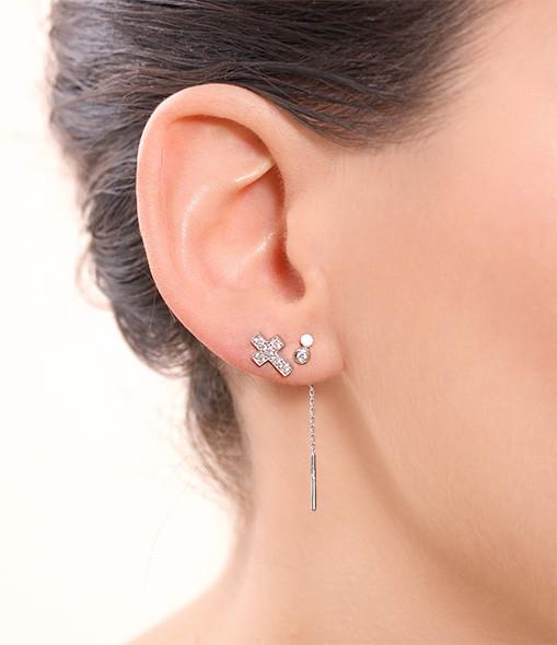 Boucle d'oreille double diamant