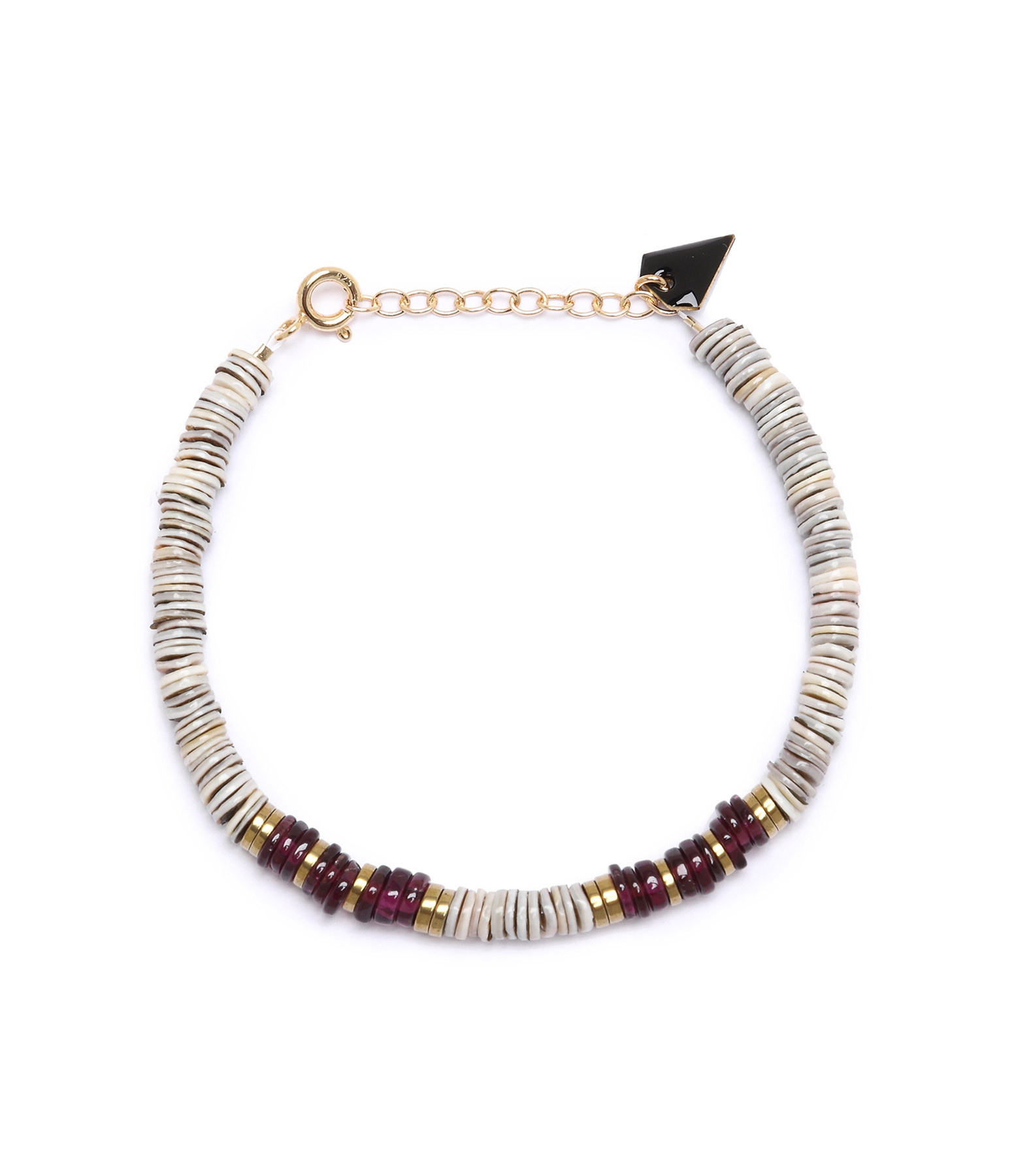 MON PRECIEUX GEM - Bracelet Puka S Coquillage Grenat