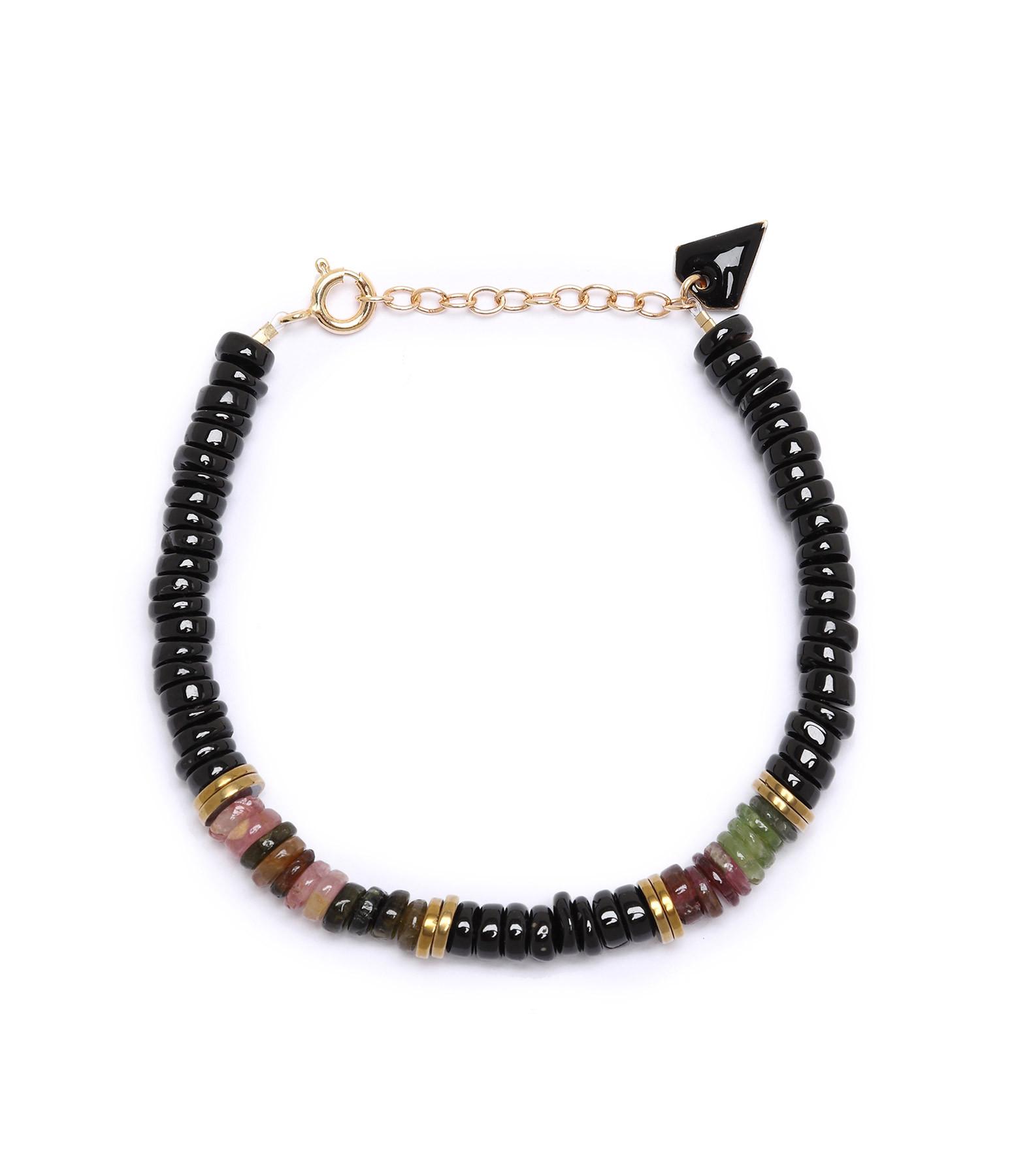 MON PRECIEUX GEM - Bracelet Puka M Onyx Tourmaline