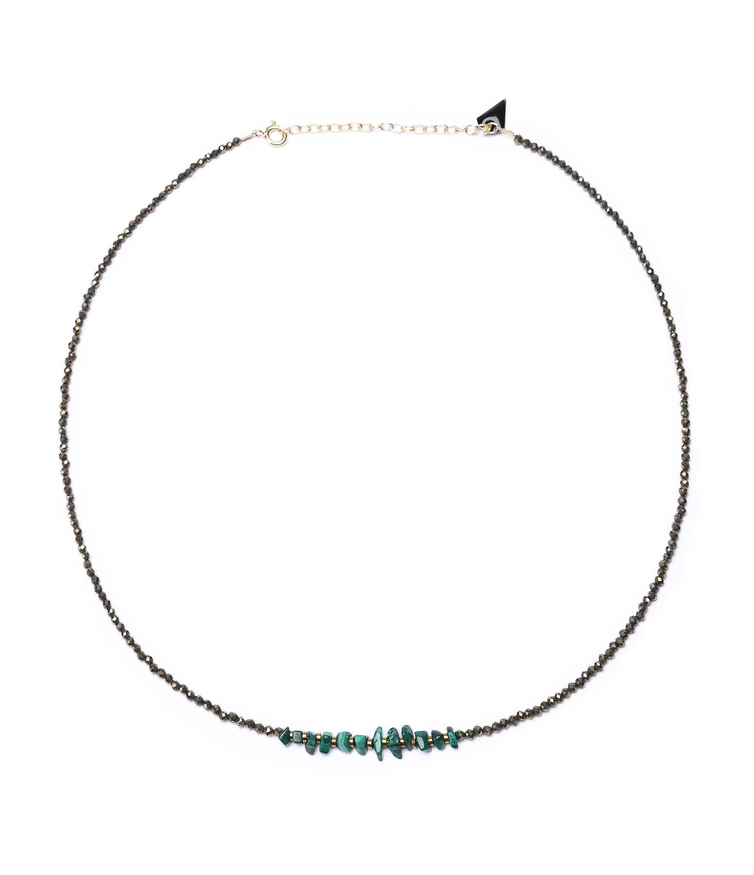 MON PRECIEUX GEM - Collier Facettes Pyrite Malachite