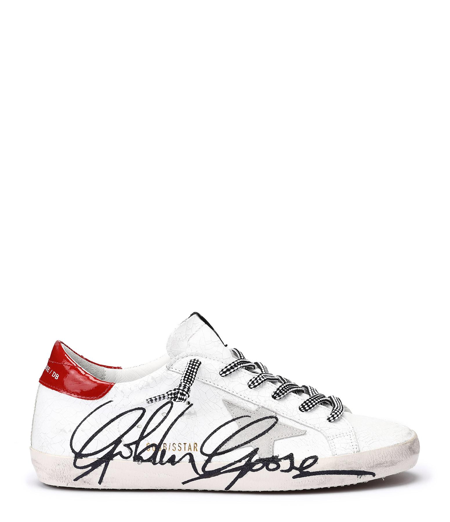 GOLDEN GOOSE - Baskets Superstar Sérigraphie Cuir Blanc Rouge
