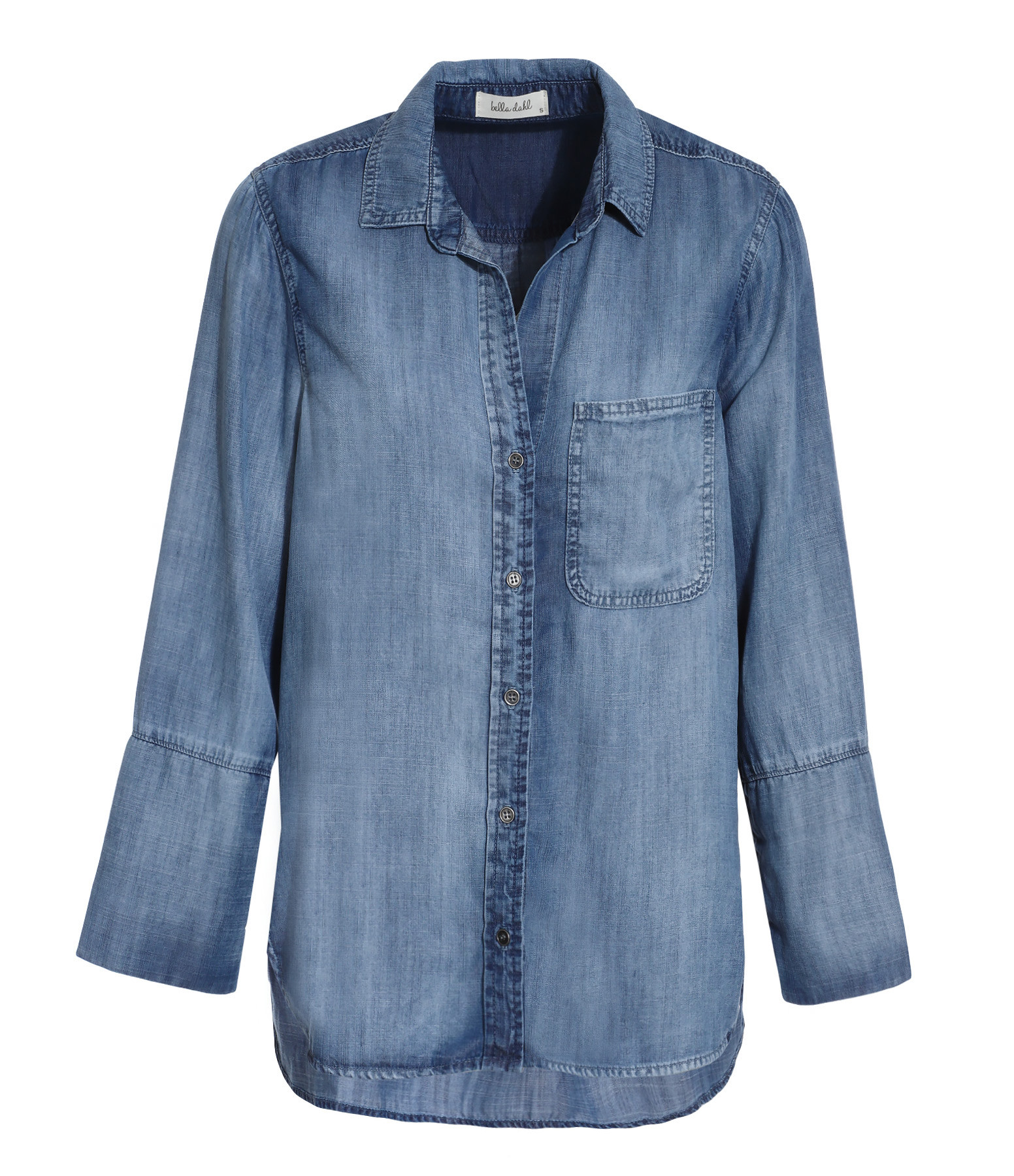 BELLA DAHL - Chemise Tail Button Down Bleu Délavé