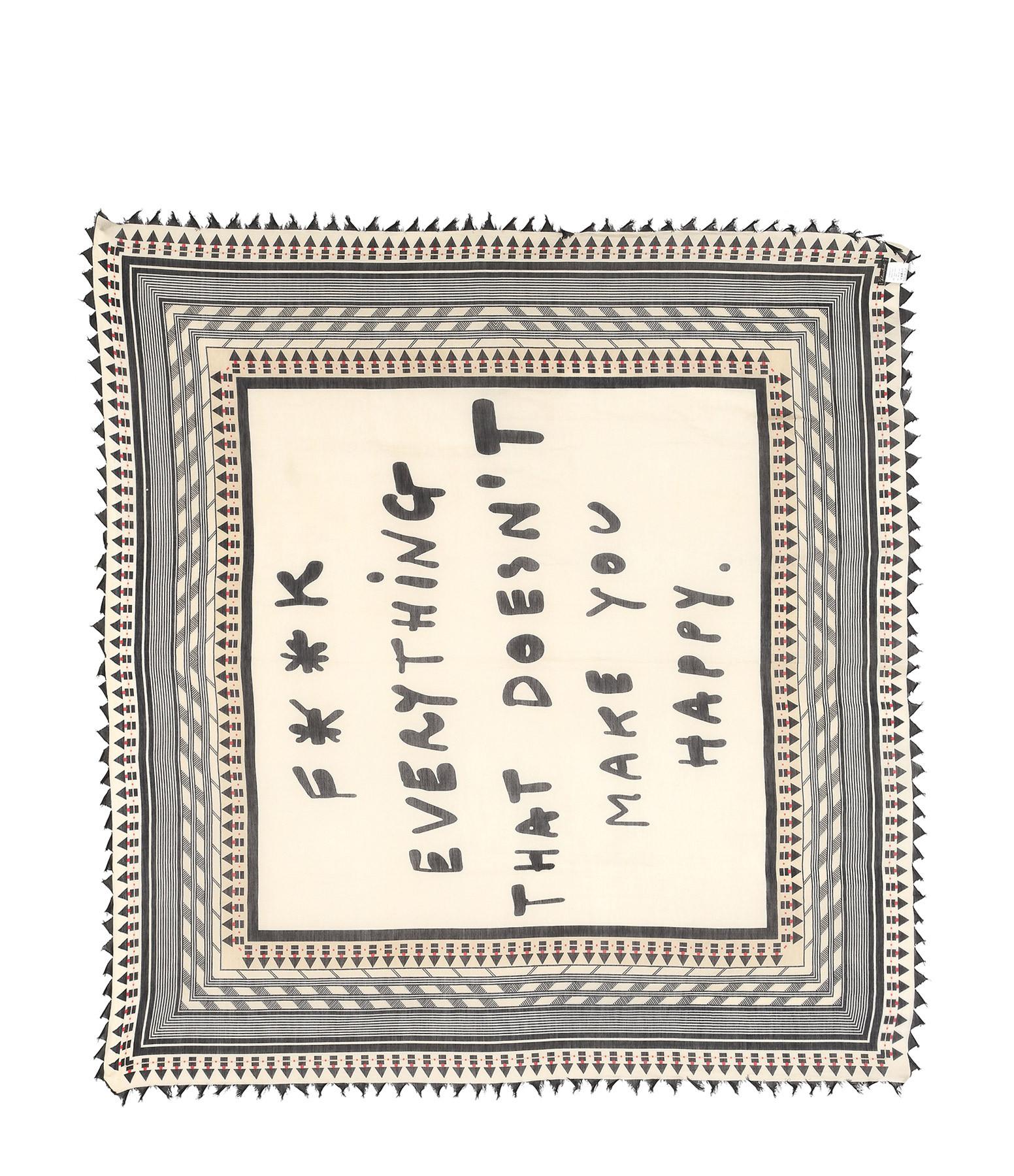 FALIERO SARTI - Foulard Happy Graphique Soie Noir Beige 115x125