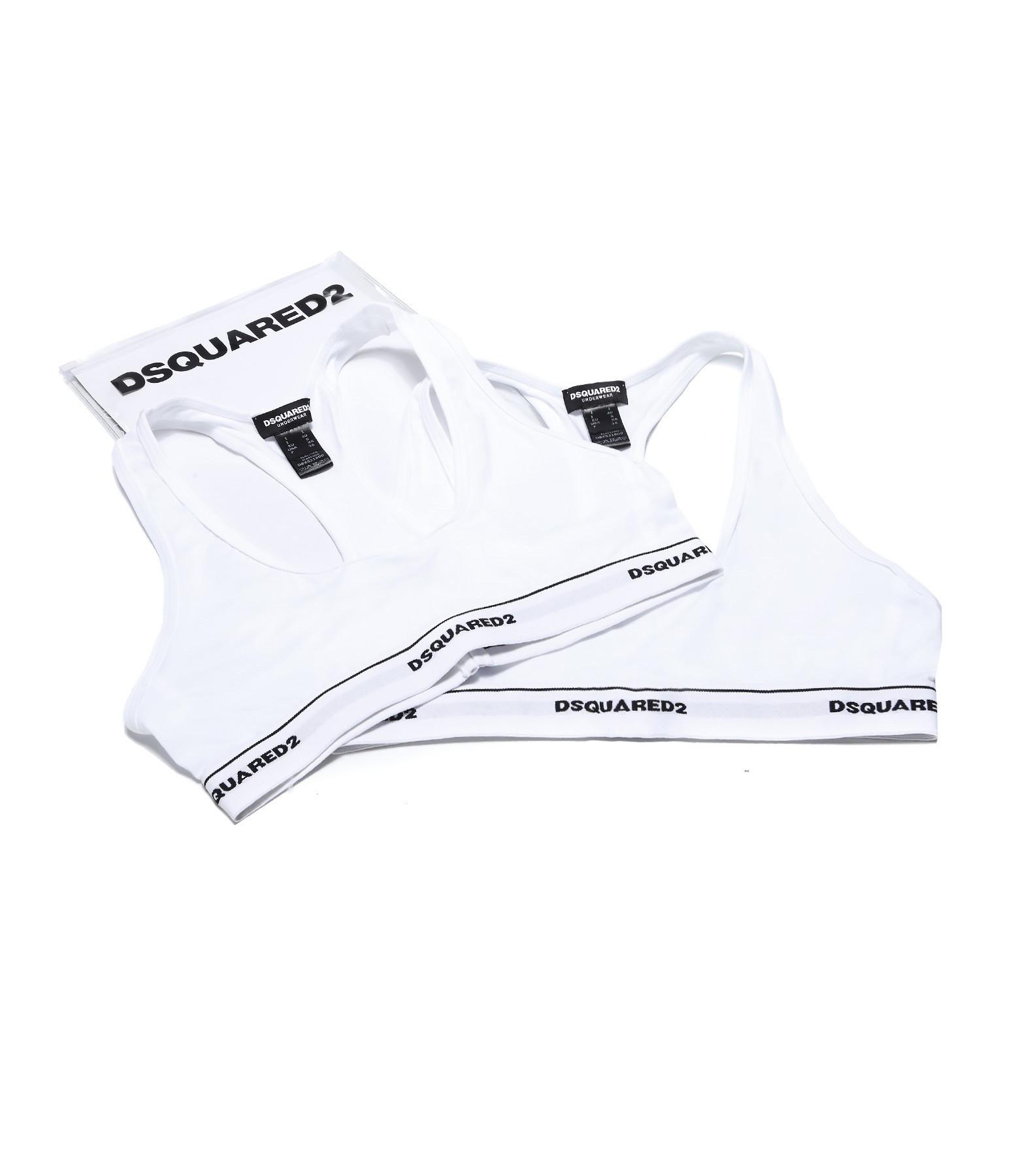 DSQUARED² - Pack 2 Soutien-gorge Sport Coton Blanc