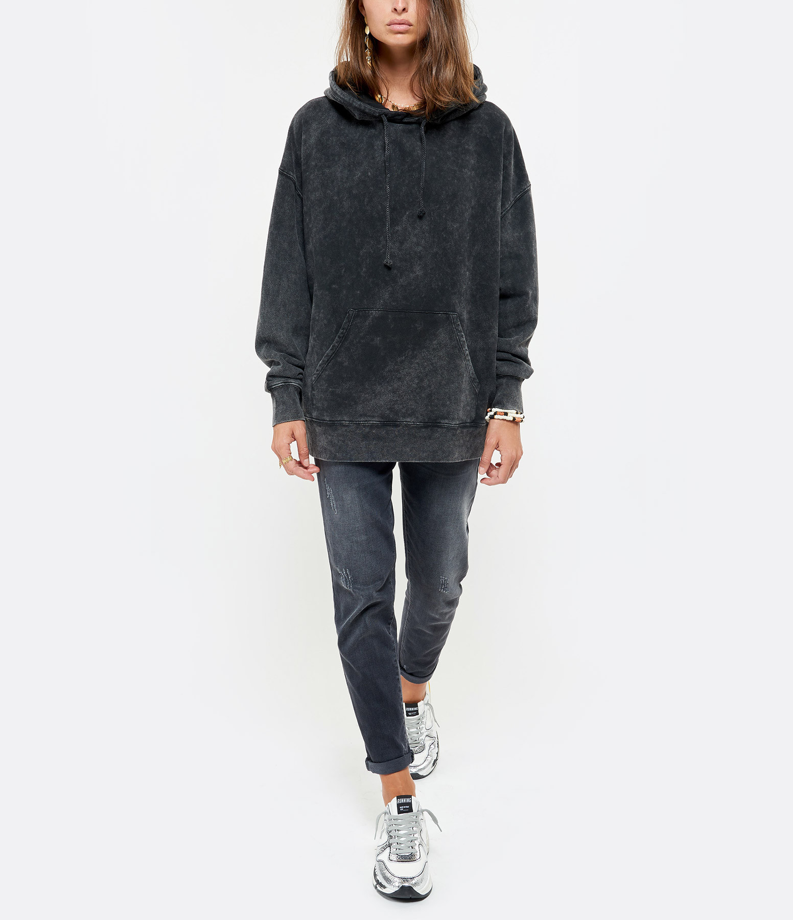 IRO - Sweatshirt Basan Coton Noir Écru