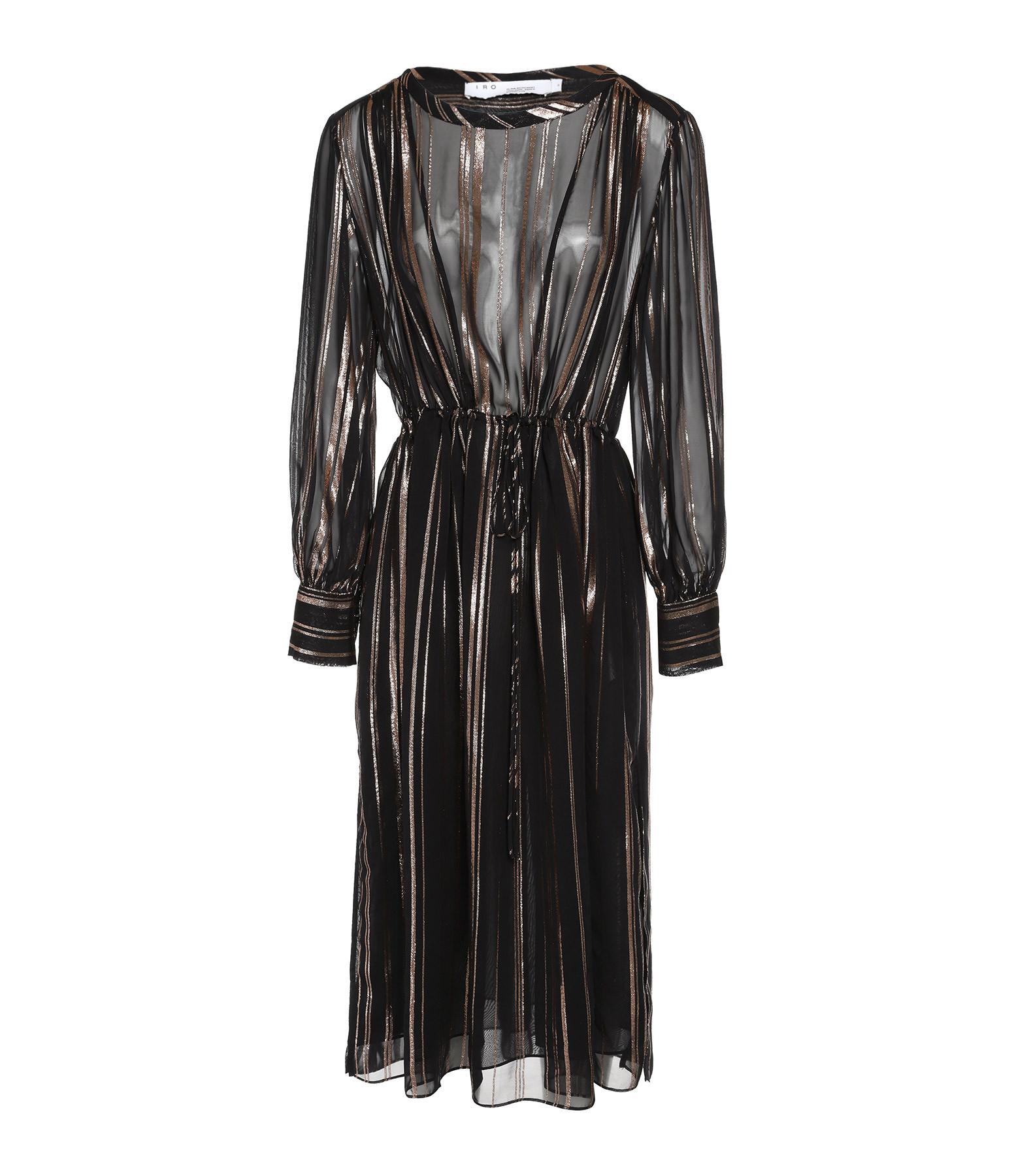 IRO - Robe Beloved Noir Rose Métallique