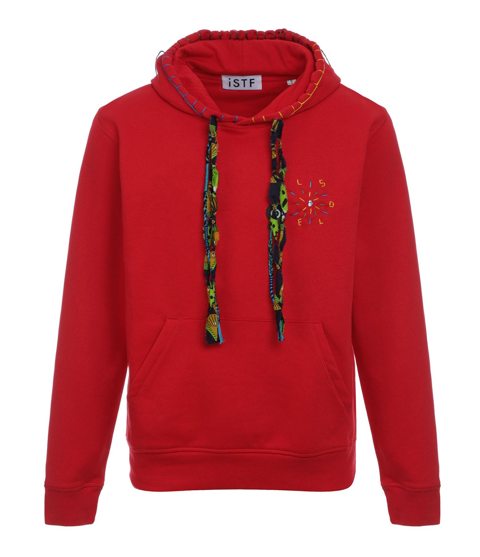 I SAVED THE FISH - Sweatshirt Hoodie Soleil Coton Biologique Rouge