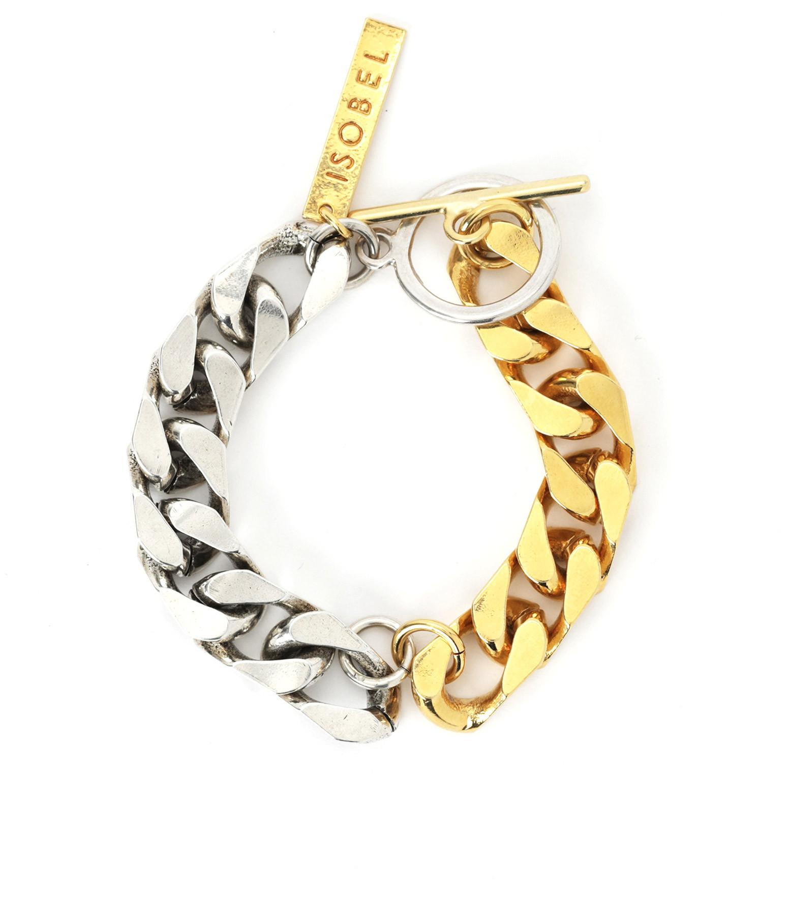 ISOBEL - Bracelet Blake Bicolore Laiton Doré et Palladié