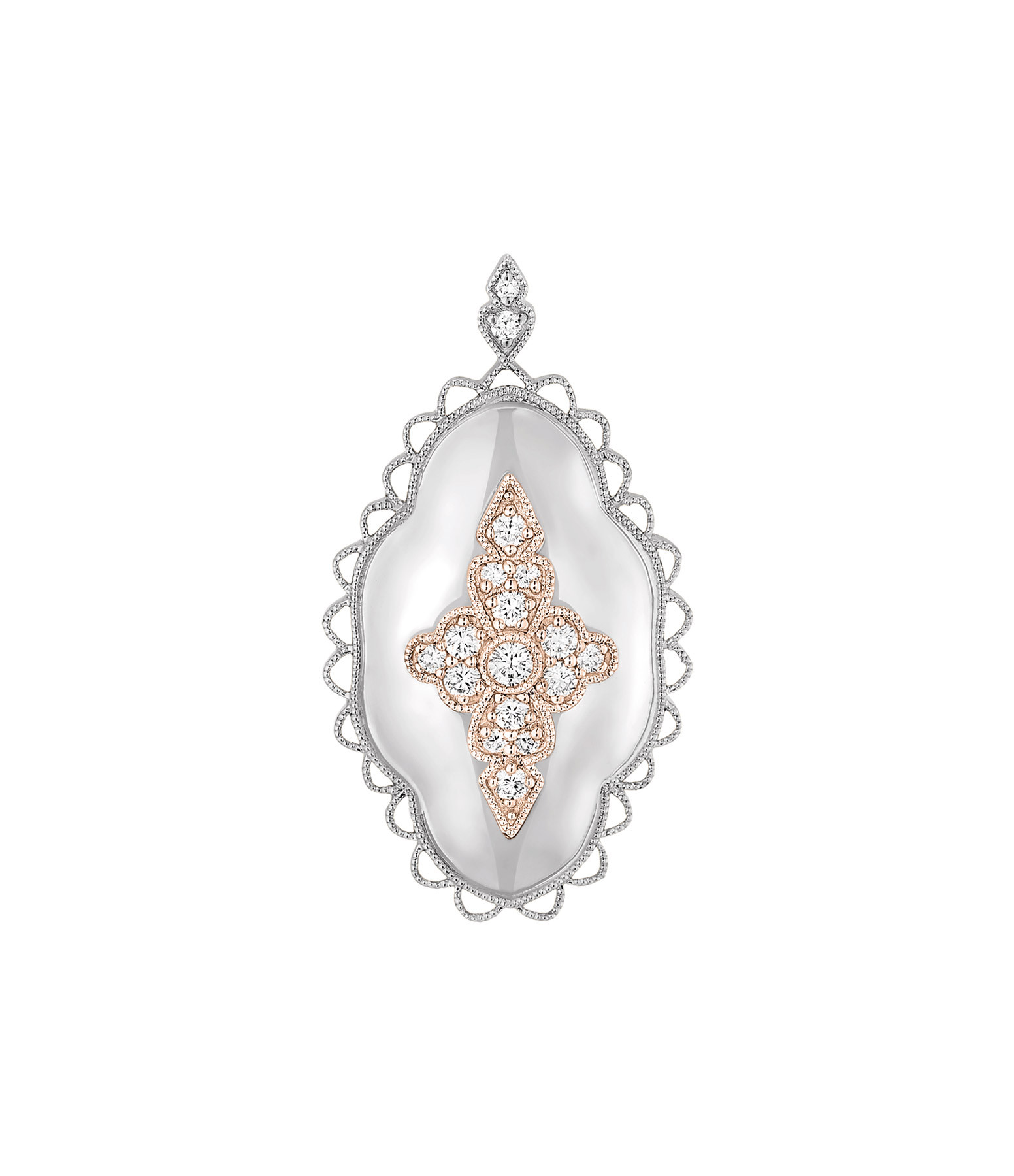 STONE PARIS - Pendentif Jade Diamants Or Blanc et Rose