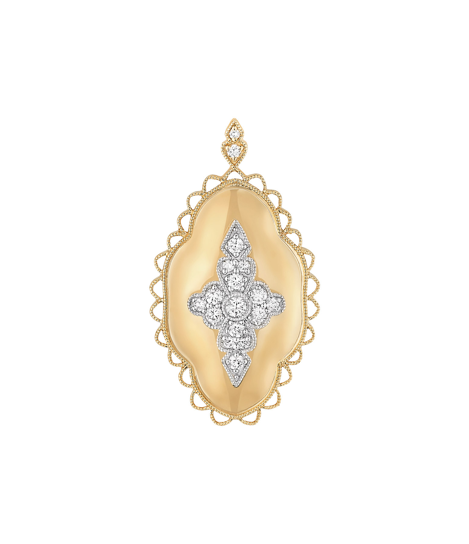 STONE PARIS - Pendentif Jade Diamants Or Jaune et Blanc