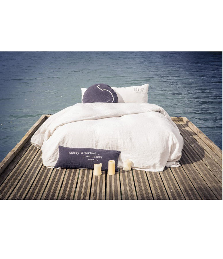 BED AND PHILOSOPHY - Coussin Smoothie Lin Charbon Argenté