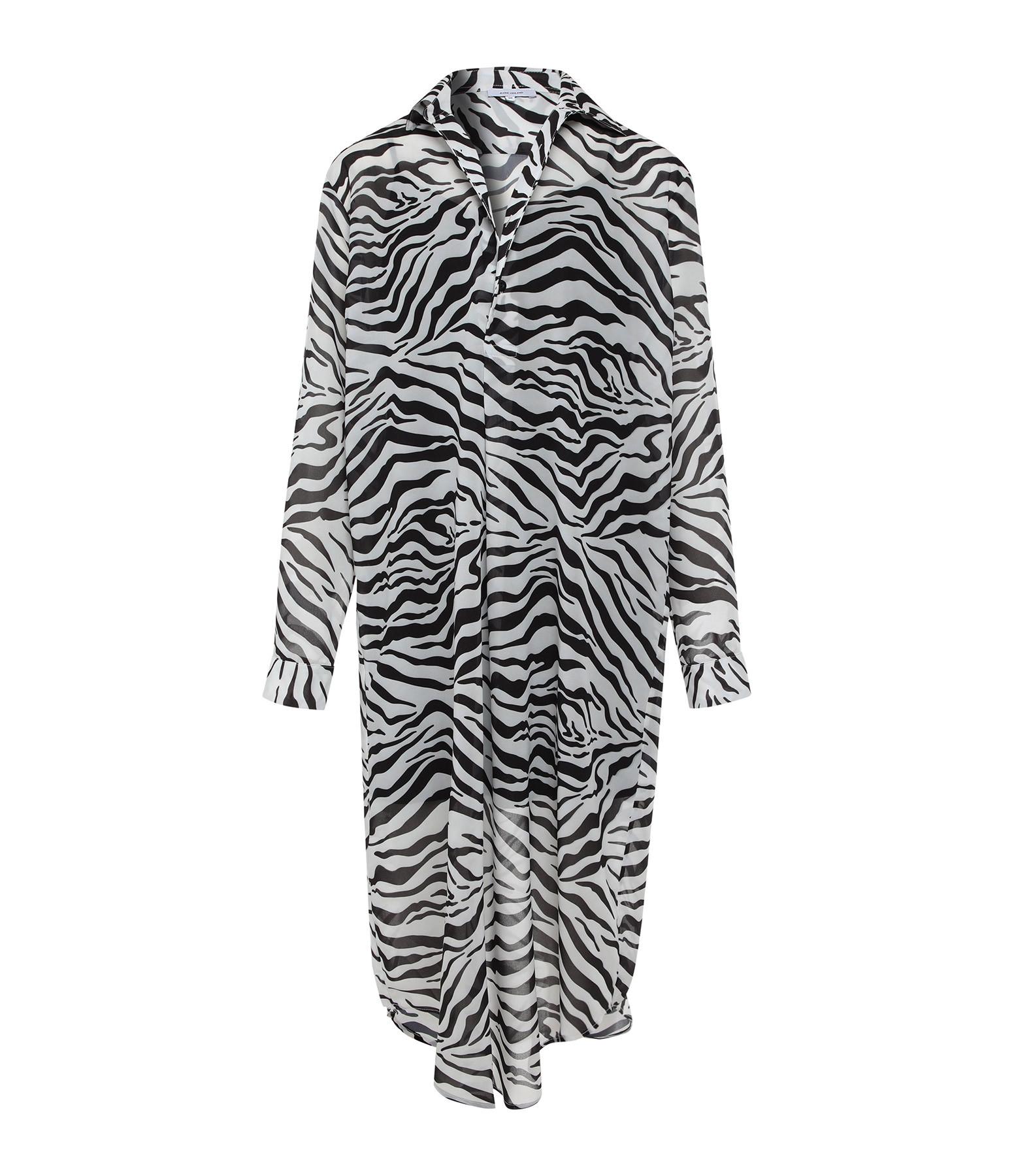 JEANNE VOULAND - Robe Elona Voile Zèbre Noir Blanc