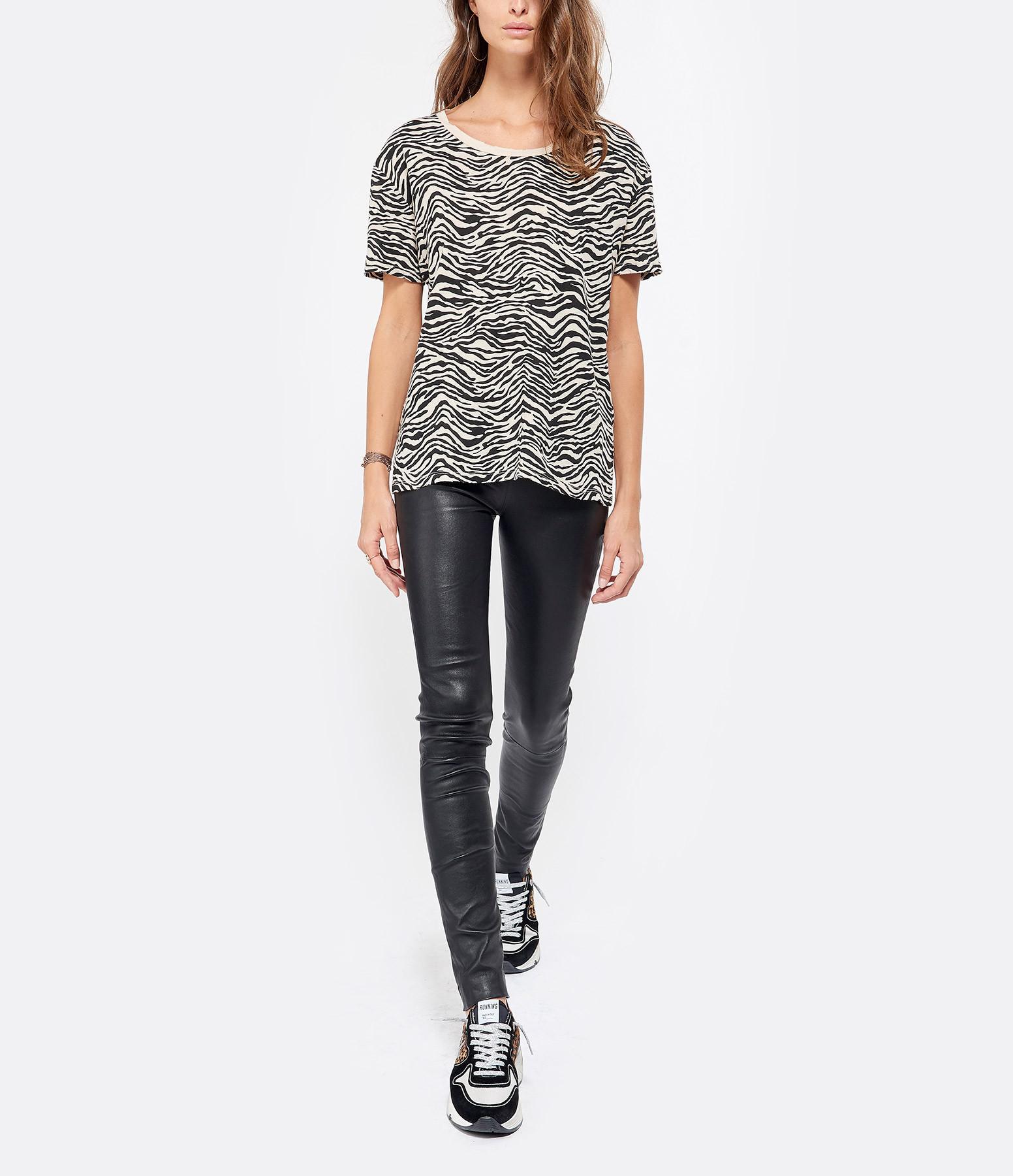 JUNE 7.2 - Tee-shirt Tatum Zebra Coton Lin Sable Noir