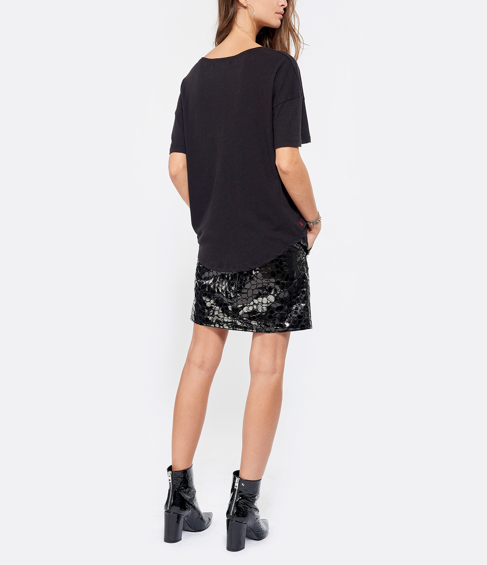 JUNE 7.2 - Tee-shirt Uma Coton Lin Noir Logo Blanc